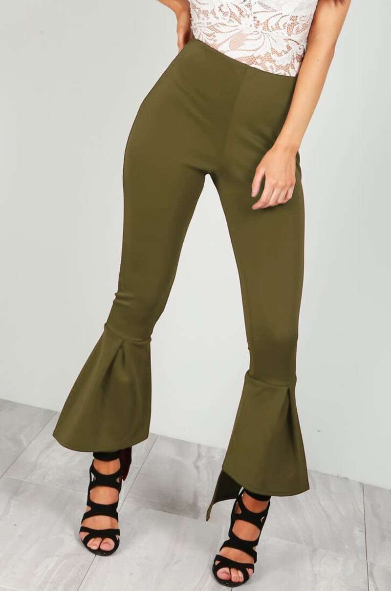 Red High Waisted Scuba Flare Leg Trousers - bejealous-com
