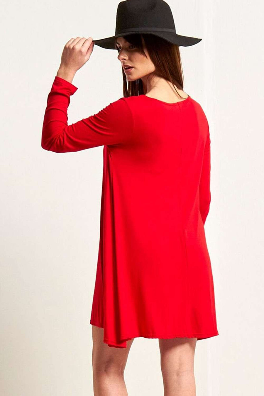 Red Long Sleeve Basic Lace Up Mini Swing Dress - bejealous-com