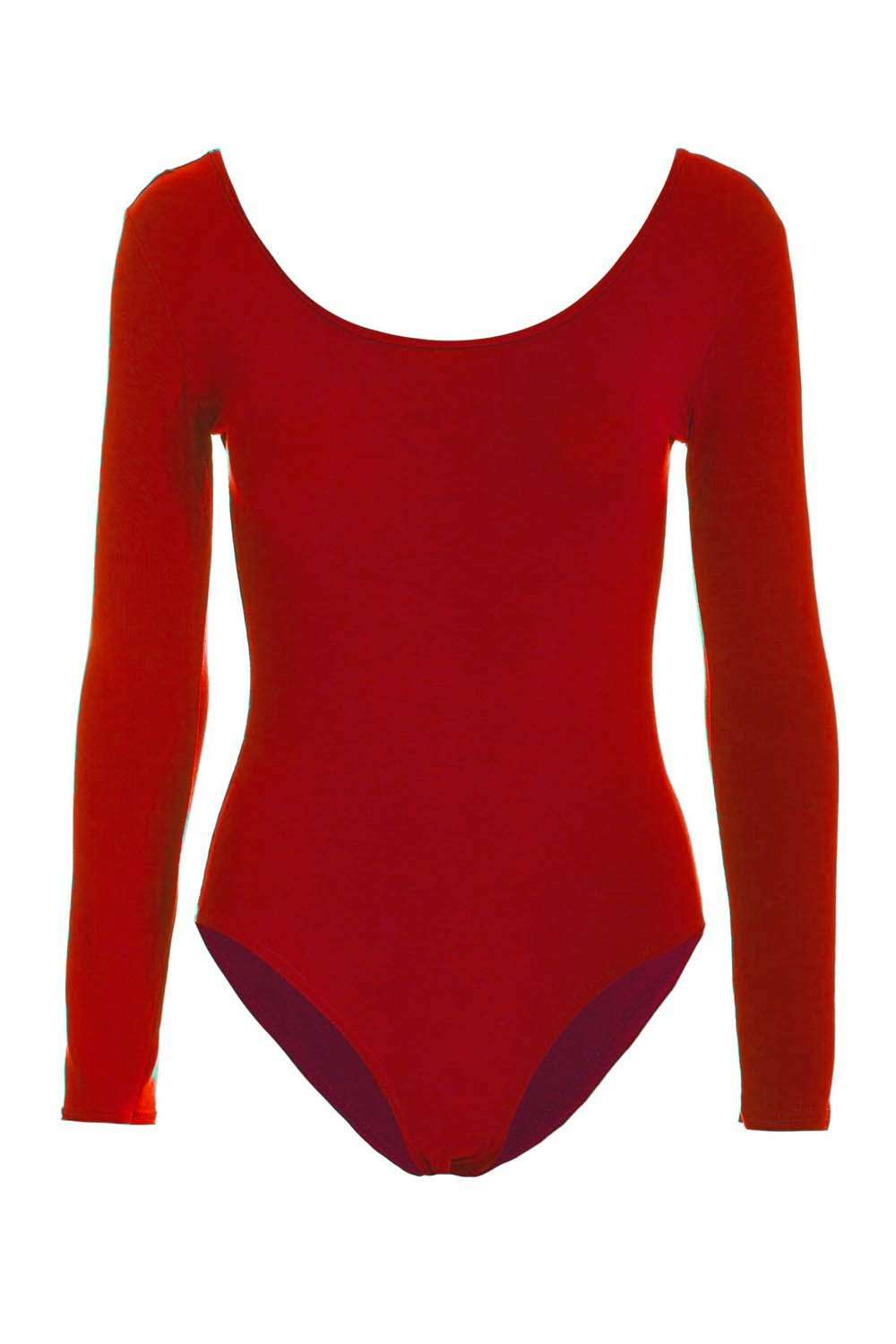 Red Long Sleeve Scoop Neck Basic Jersey Bodysuit - bejealous-com