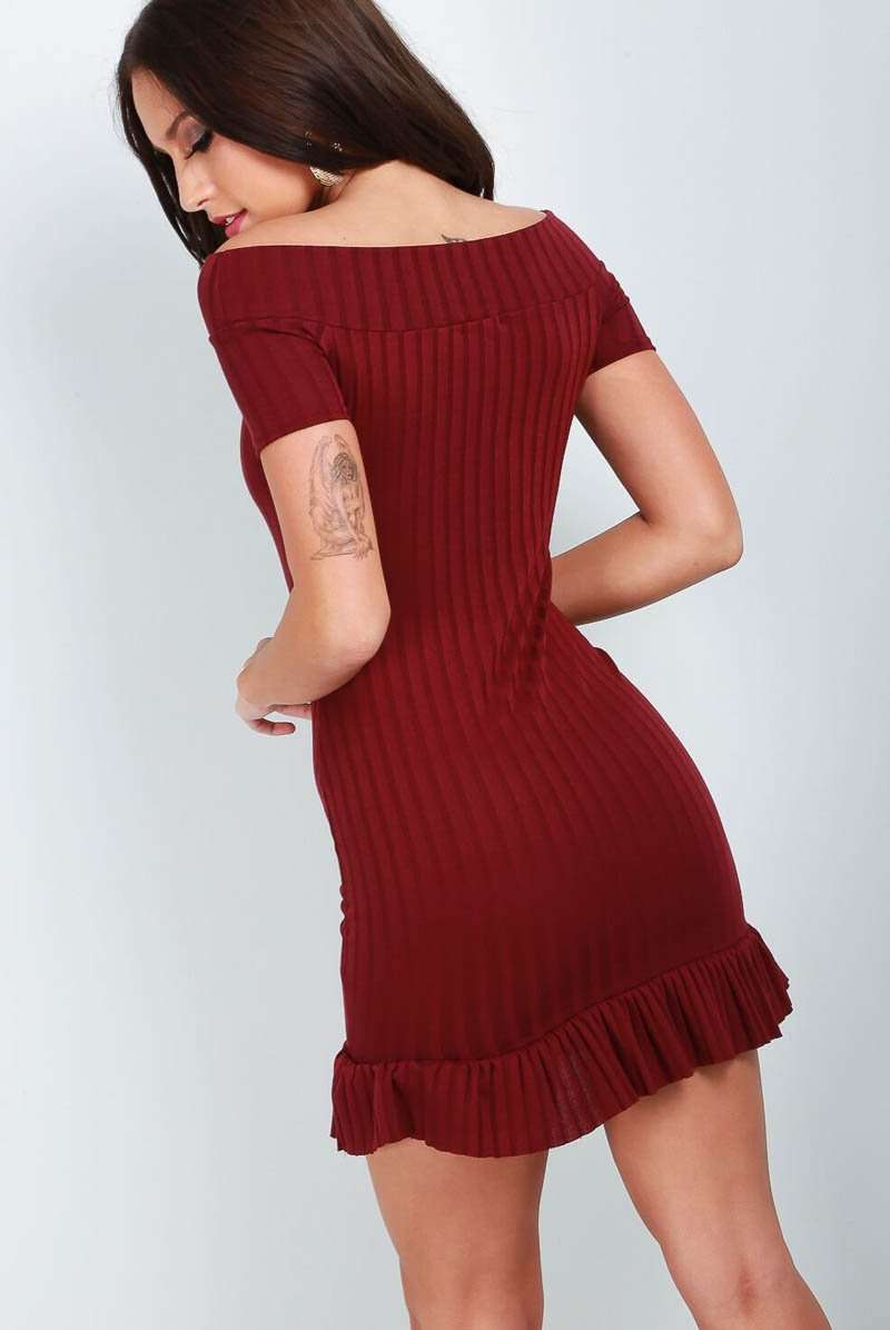 Red Off Shoulder Frill Hem Mini Bodycon Dress - bejealous-com