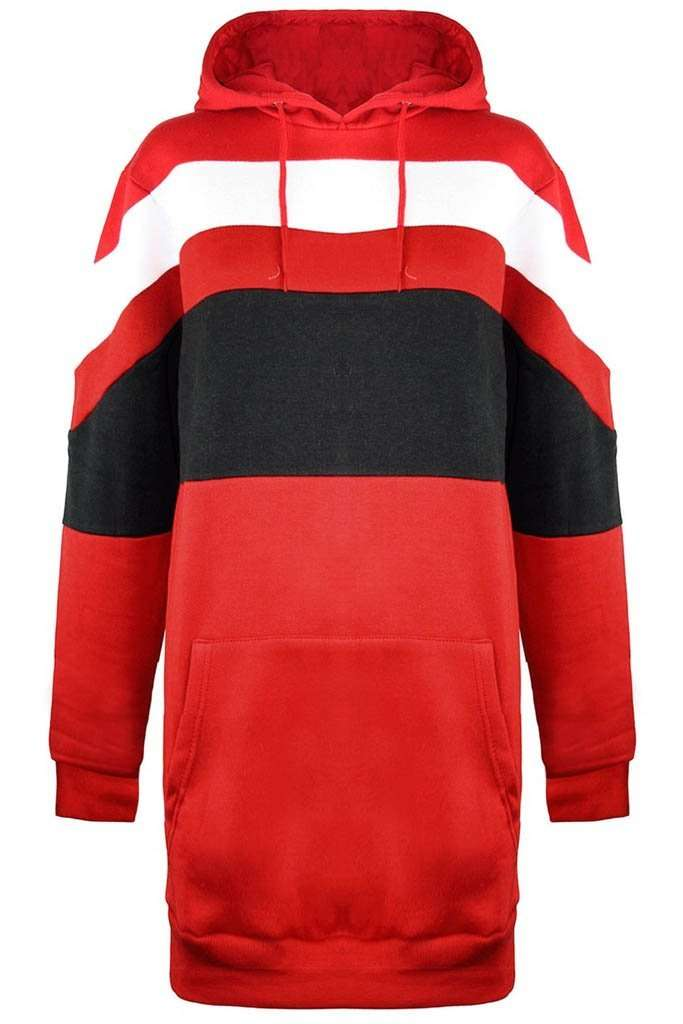 Red Oversized Contrast Stripe Hooded Sweater Dress - bejealous-com