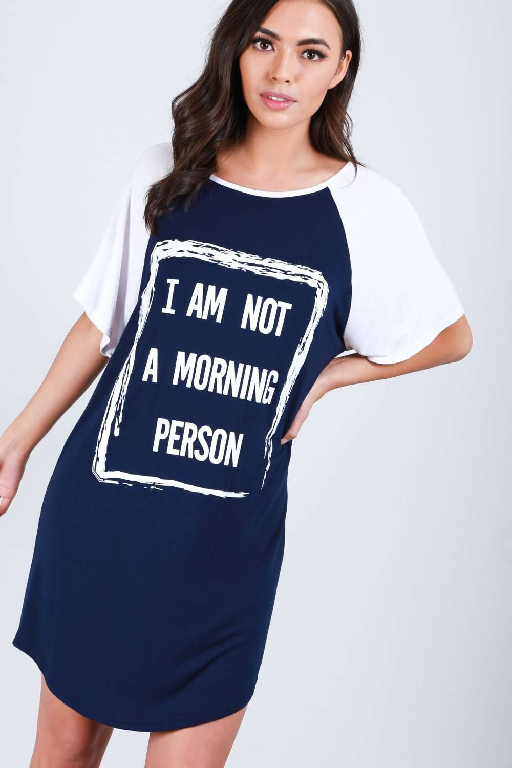 Red Oversized Slogan Print Pyjama Night Dress - bejealous-com