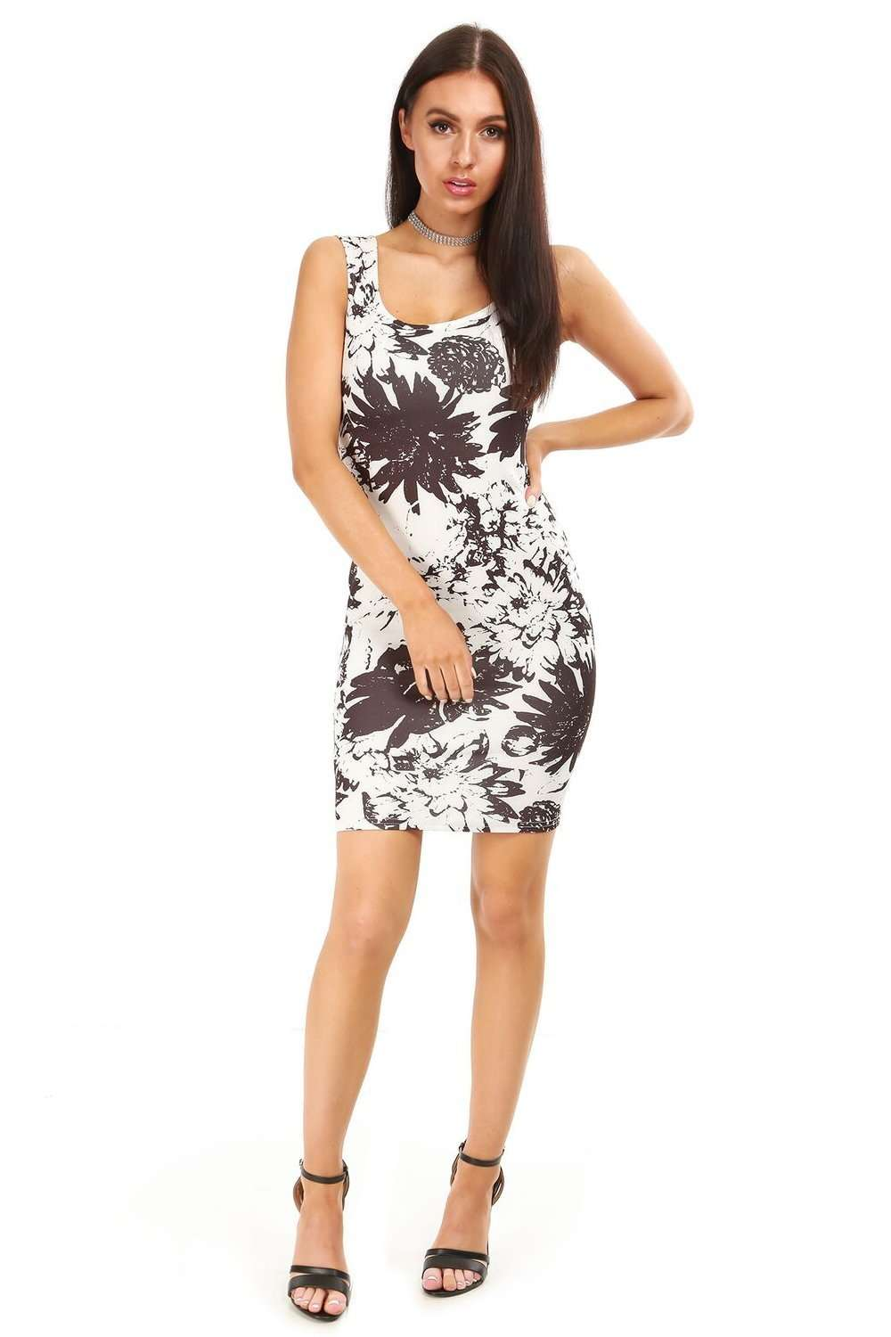 Rhianne Monochrome Floral Bodycon Mini Dress - bejealous-com
