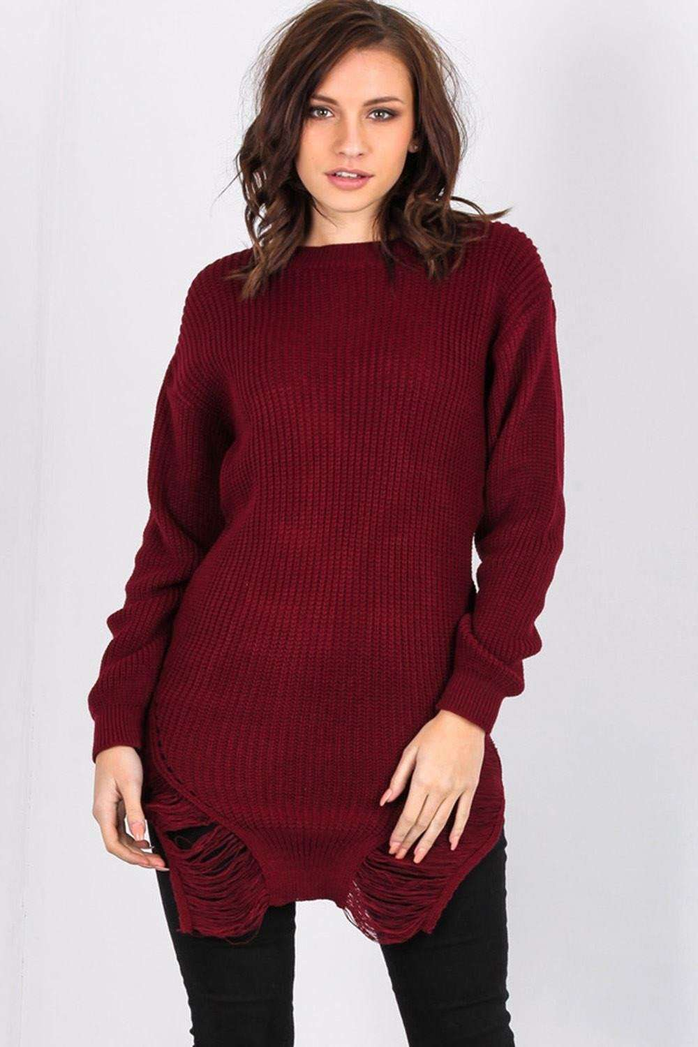 Long Sleeve Red Frayed Knitted Jumper - bejealous-com
