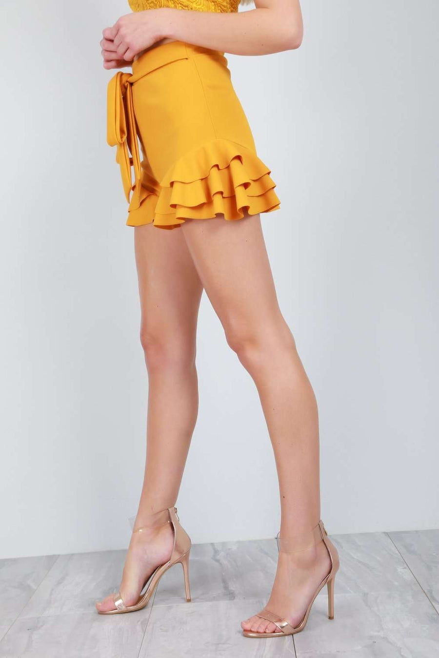 Rikki Belted High Waist Frill Trim Shorts - bejealous-com