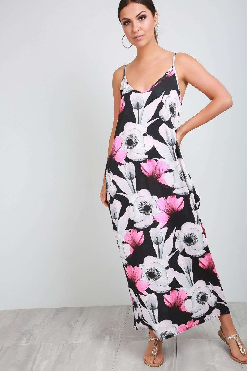 Rita Strappy Floral Print Maxi Dress - bejealous-com