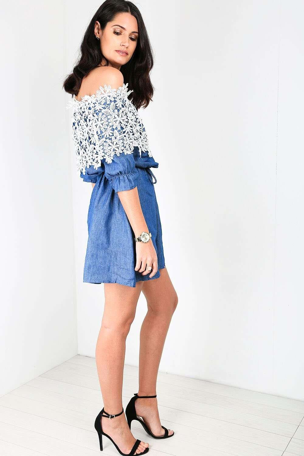 Rochelle Bardot Floral Lace Denim Mini Dress - bejealous-com