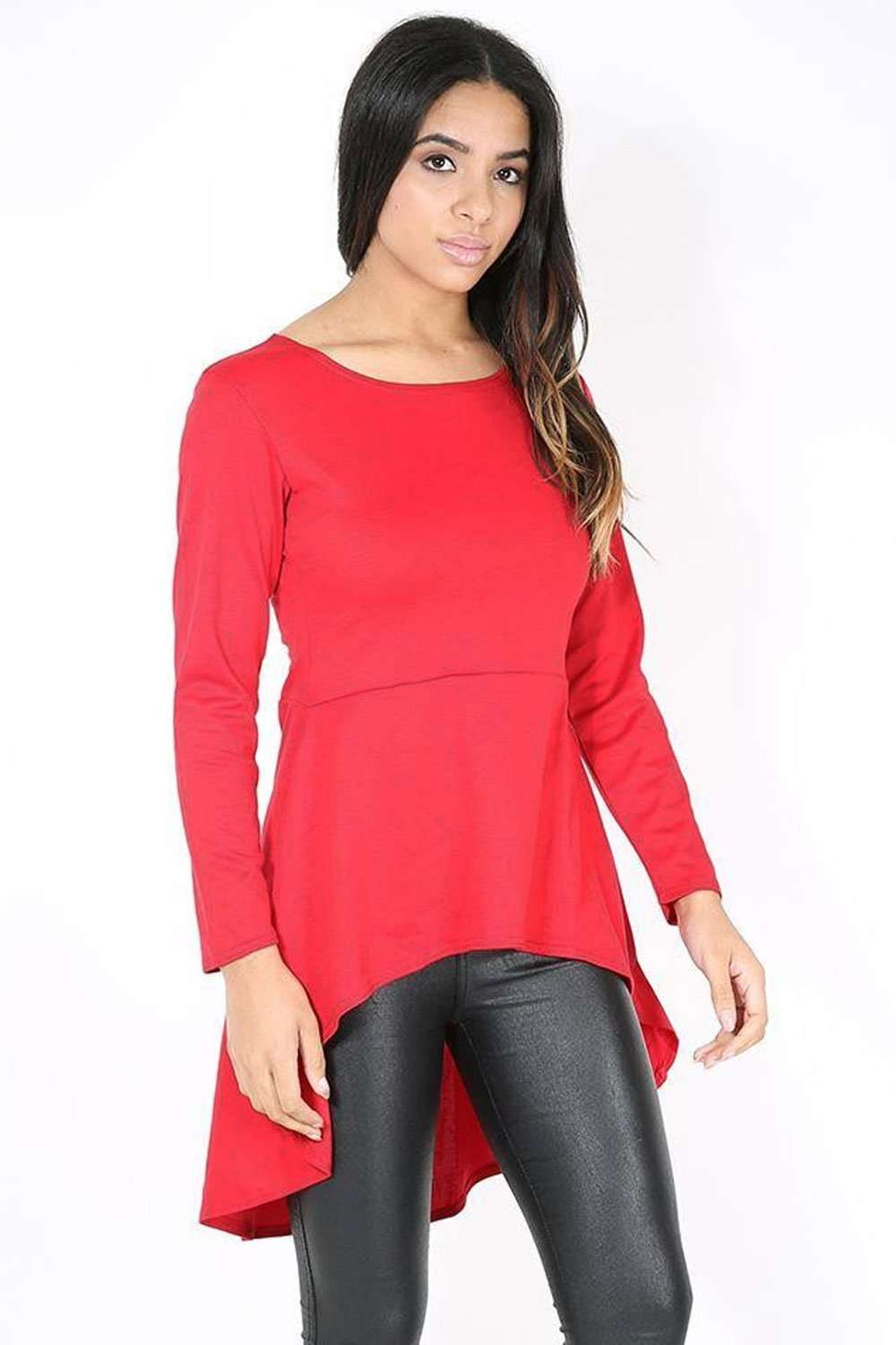 Rosie Long Sleeve Dipped Hem Top - bejealous-com