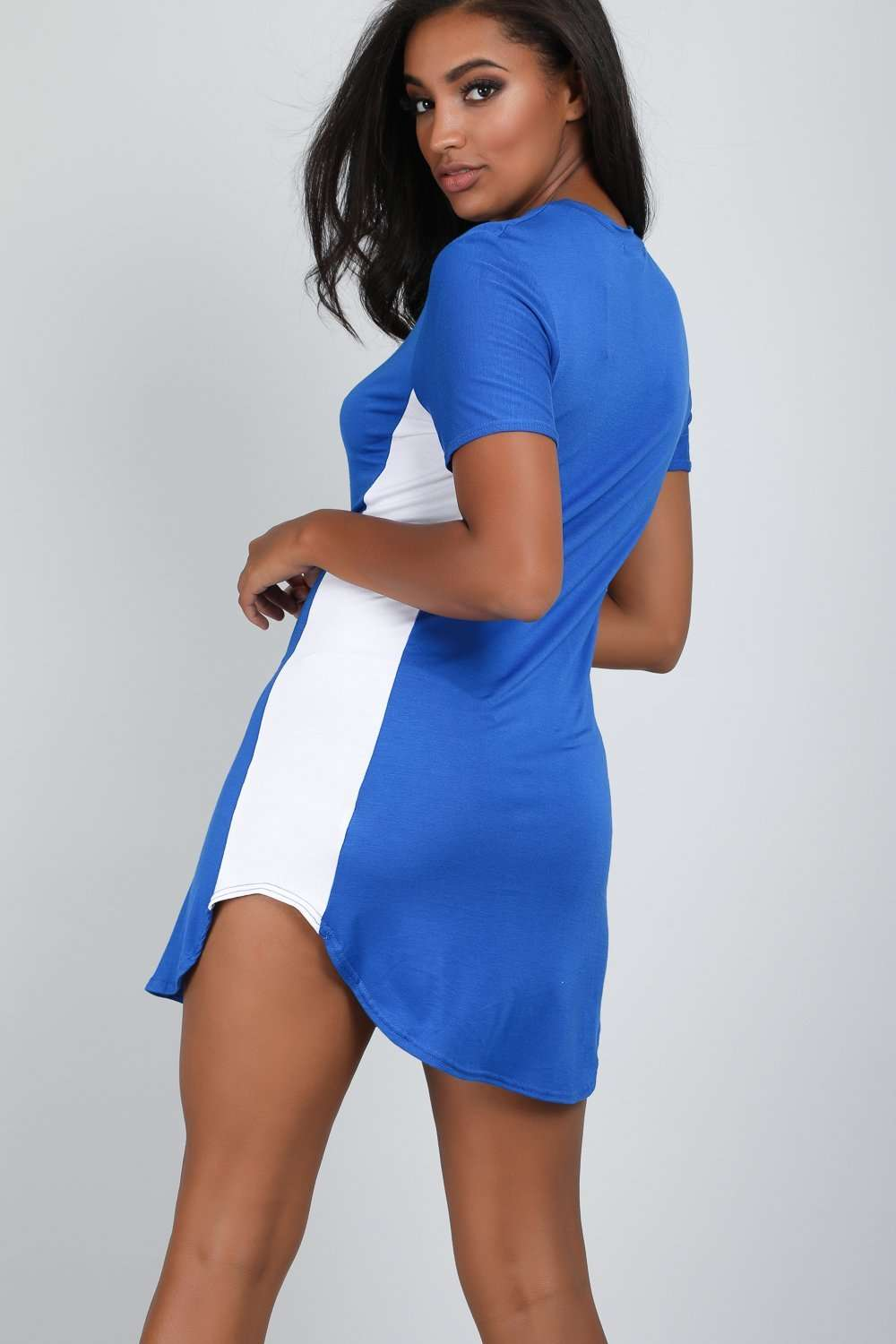 Royal Blue Curve Hem Paneled Tshirt Dress - bejealous-com