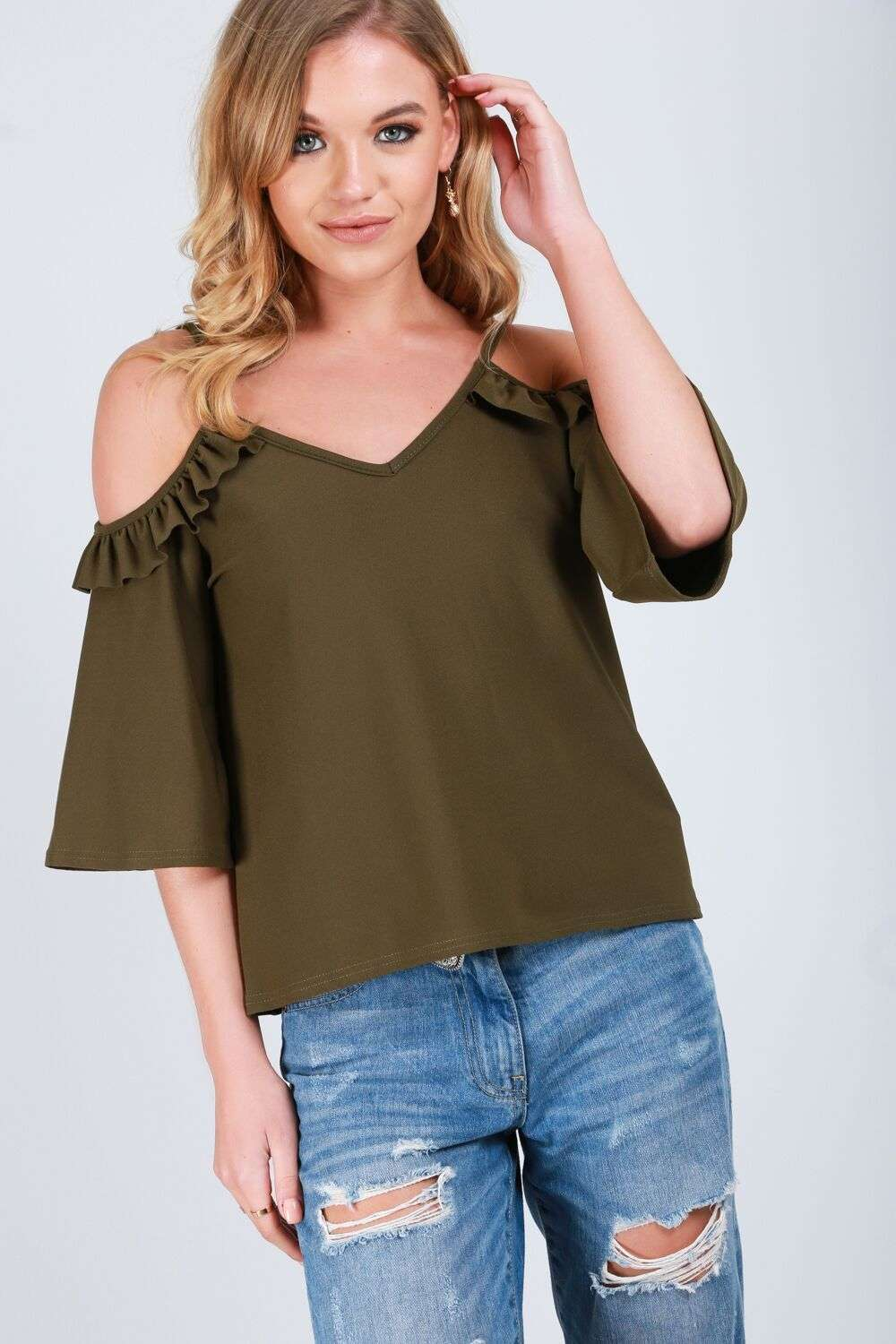 Ruby Flute Sleeve Cold Shoulder Frilly Cami Top - bejealous-com