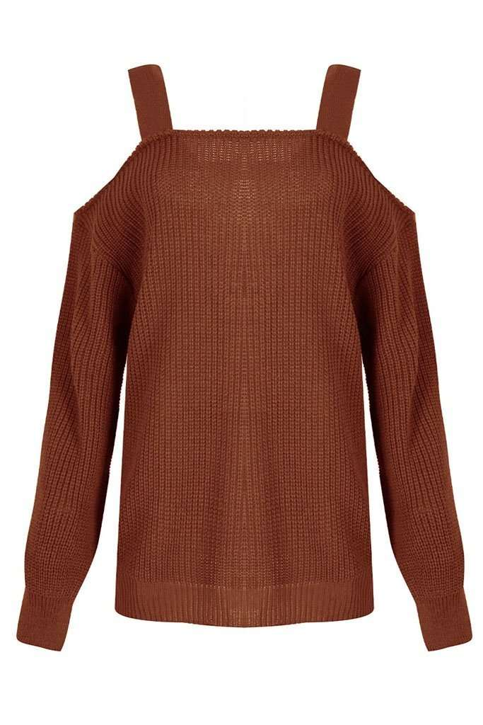 Saara Cold Shoulder Baggy Knitted Jumper - bejealous-com