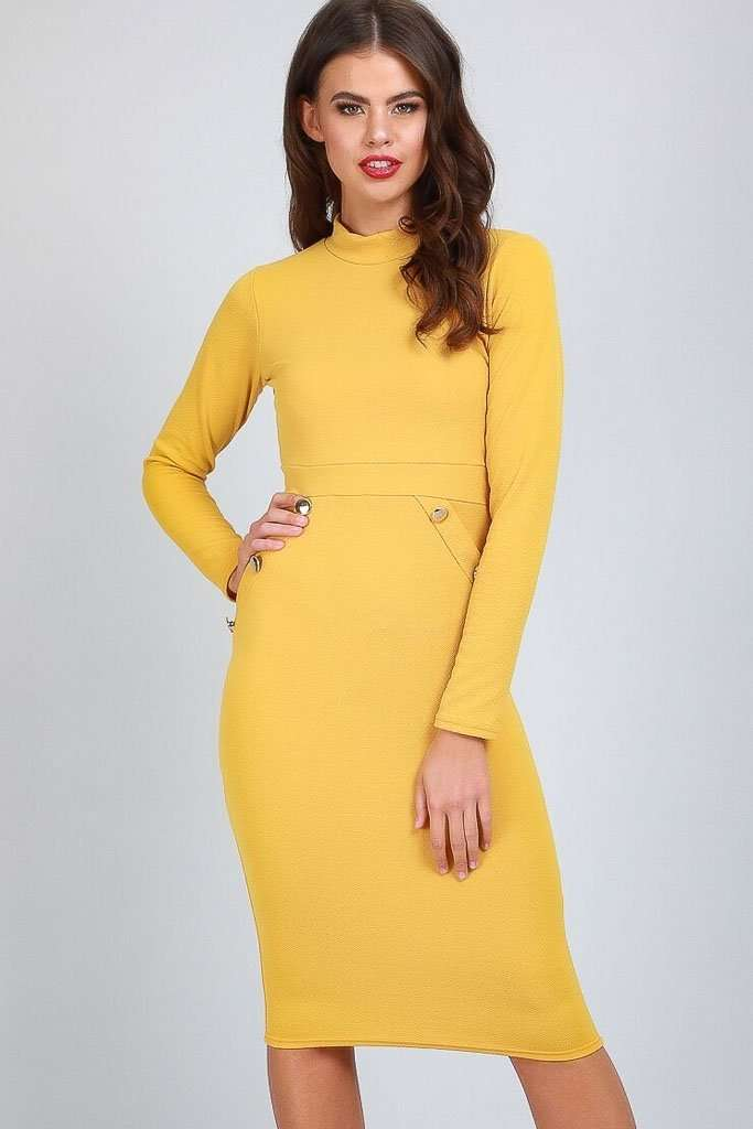 Sadie Long Sleeve Button Bodycon Dress - bejealous-com