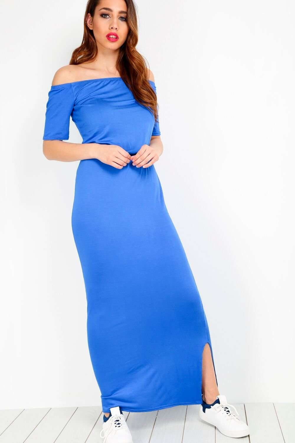 Safiah Cold Shoulder Side Split Maxi Dress - bejealous-com