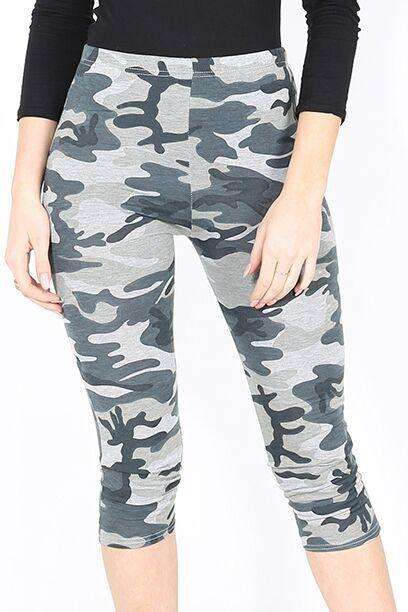 Sallie Camo Print Cropped Leggings - bejealous-com