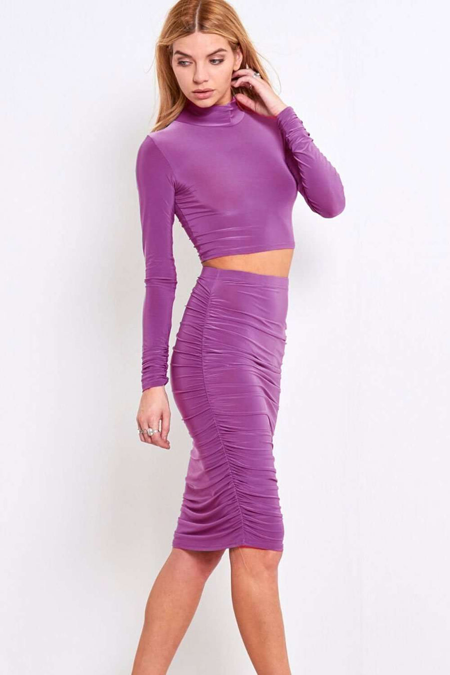 Sallie Long Sleeve Crop Top & Skirt Co Ord - bejealous-com