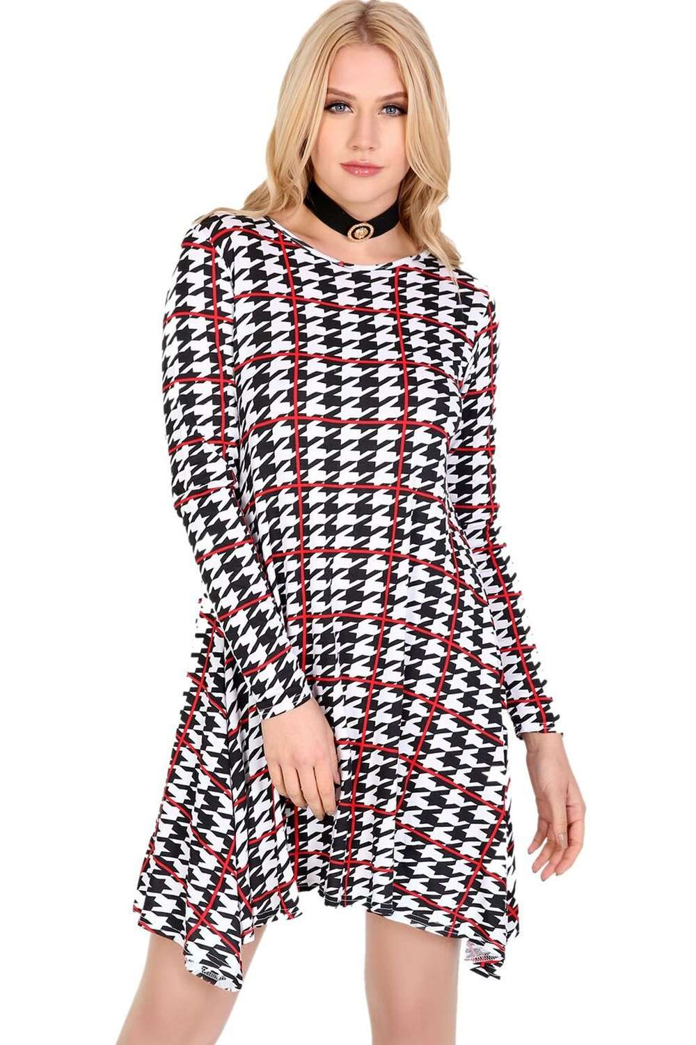 Sallie Long Sleeve Dog Tooth Mini Swing Dress - bejealous-com