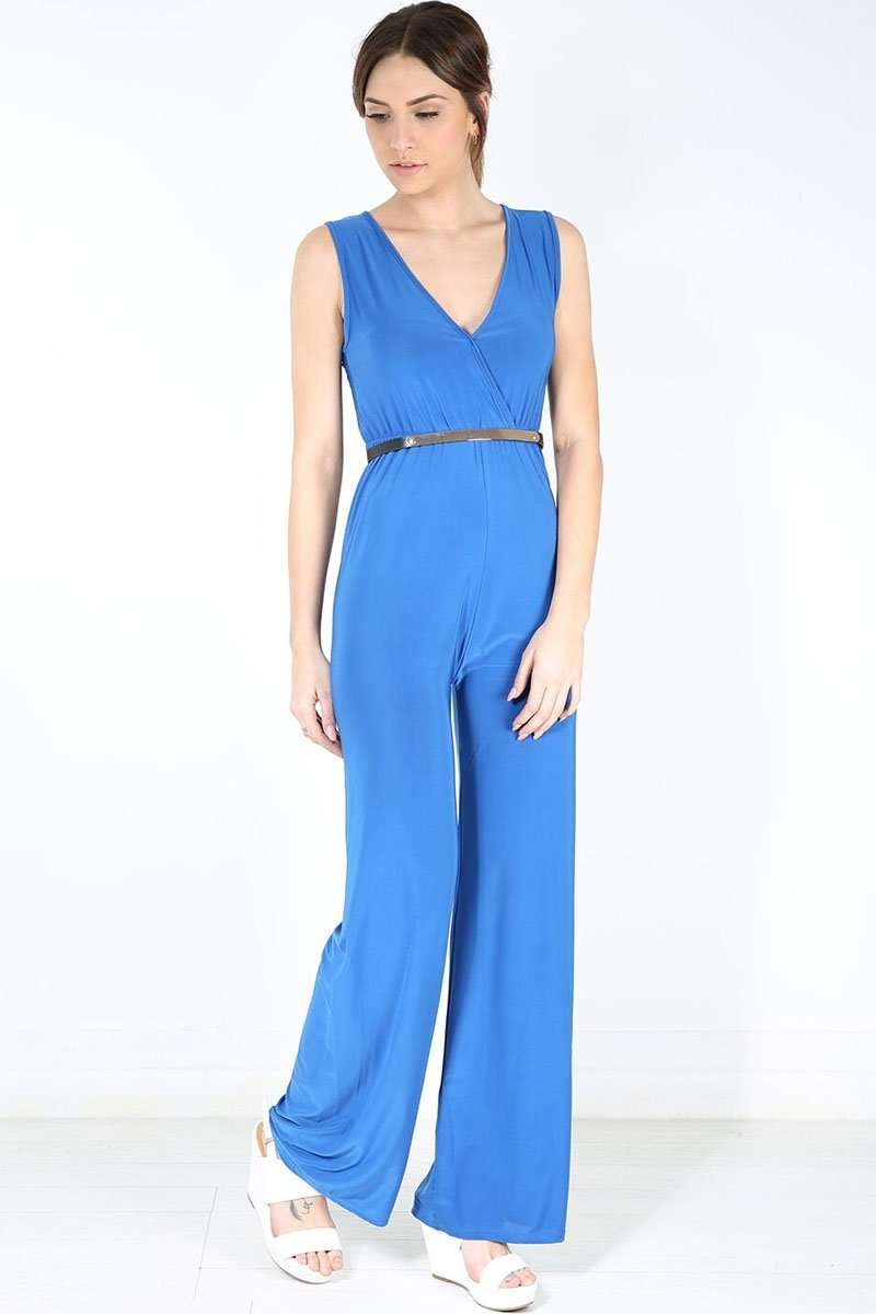 Sallie Plunge Neck Wide Leg Jumpsuit - bejealous-com