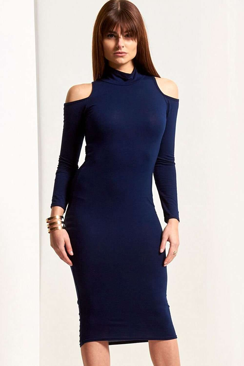 Sally Cold Shoulder Midi Bodycon Dress - bejealous-com