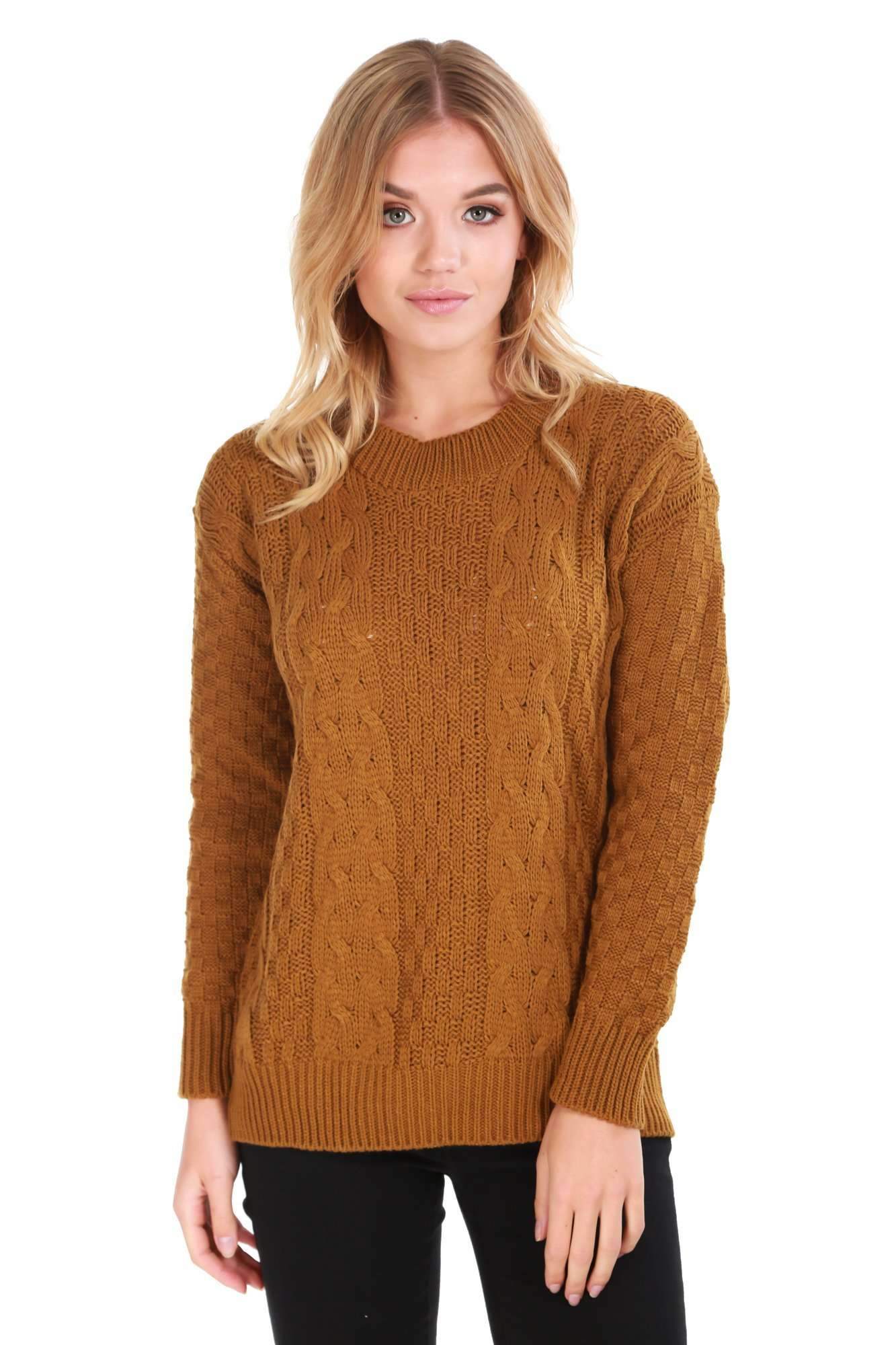 47976abc96a Sally Long Sleeve Cable Knit Oversized Jumper