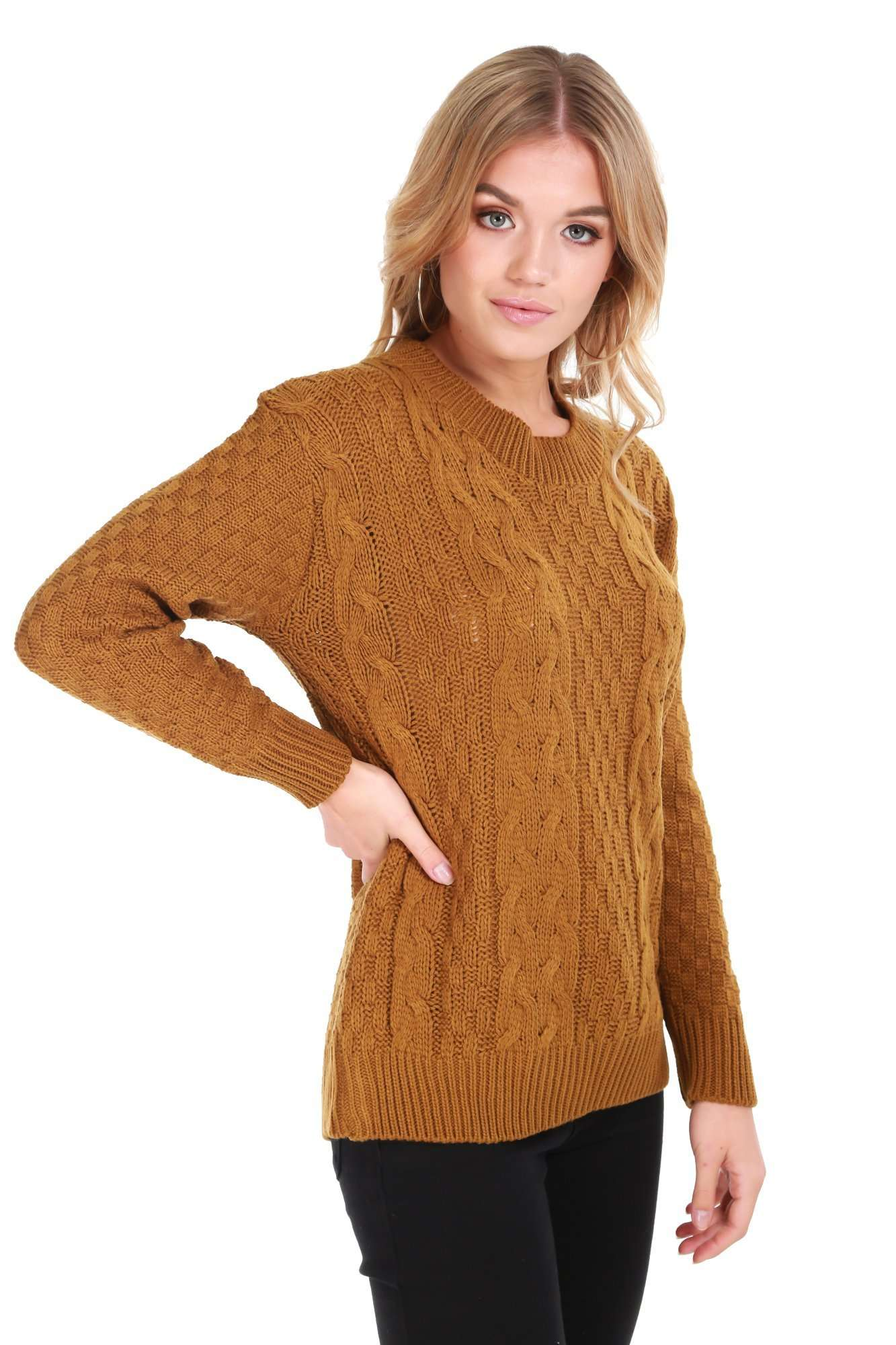 cf6a4bc7c14 Women's Long Sleeve Cable Knit Oversized Jumper | Knit Wear