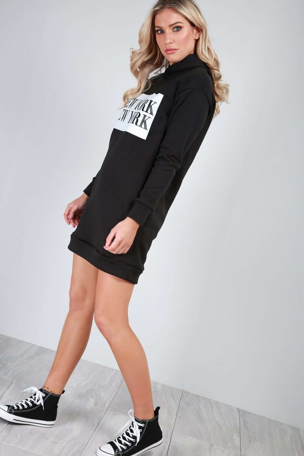 Sally New York Slogan Print Sweater Dress - bejealous-com