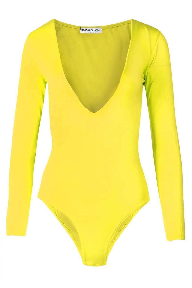 Samantha Long Sleeve Plain V Neck Bodysuit - bejealous-com