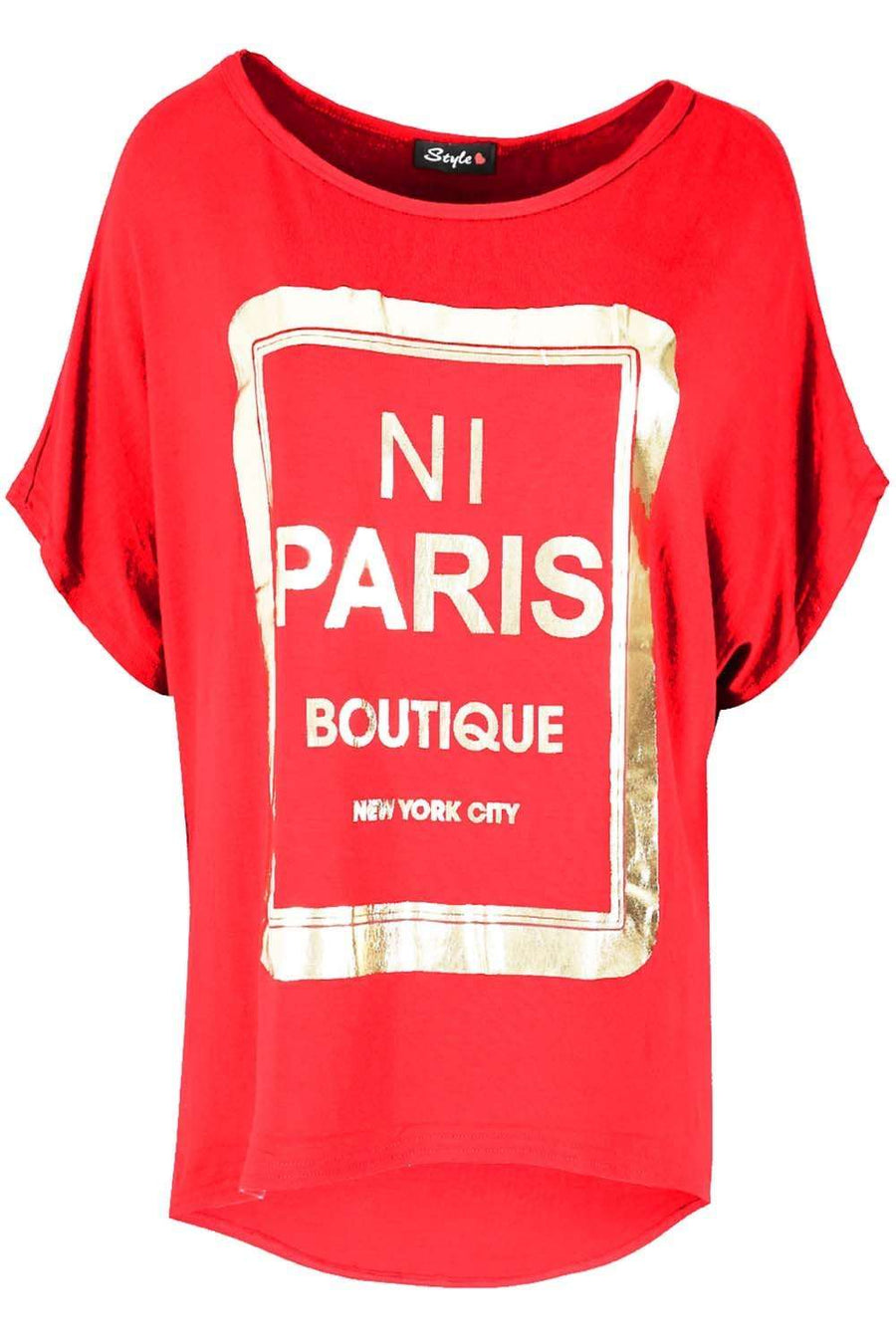 Sammi Gold Foil Paris Slogan Baggy Top - bejealous-com