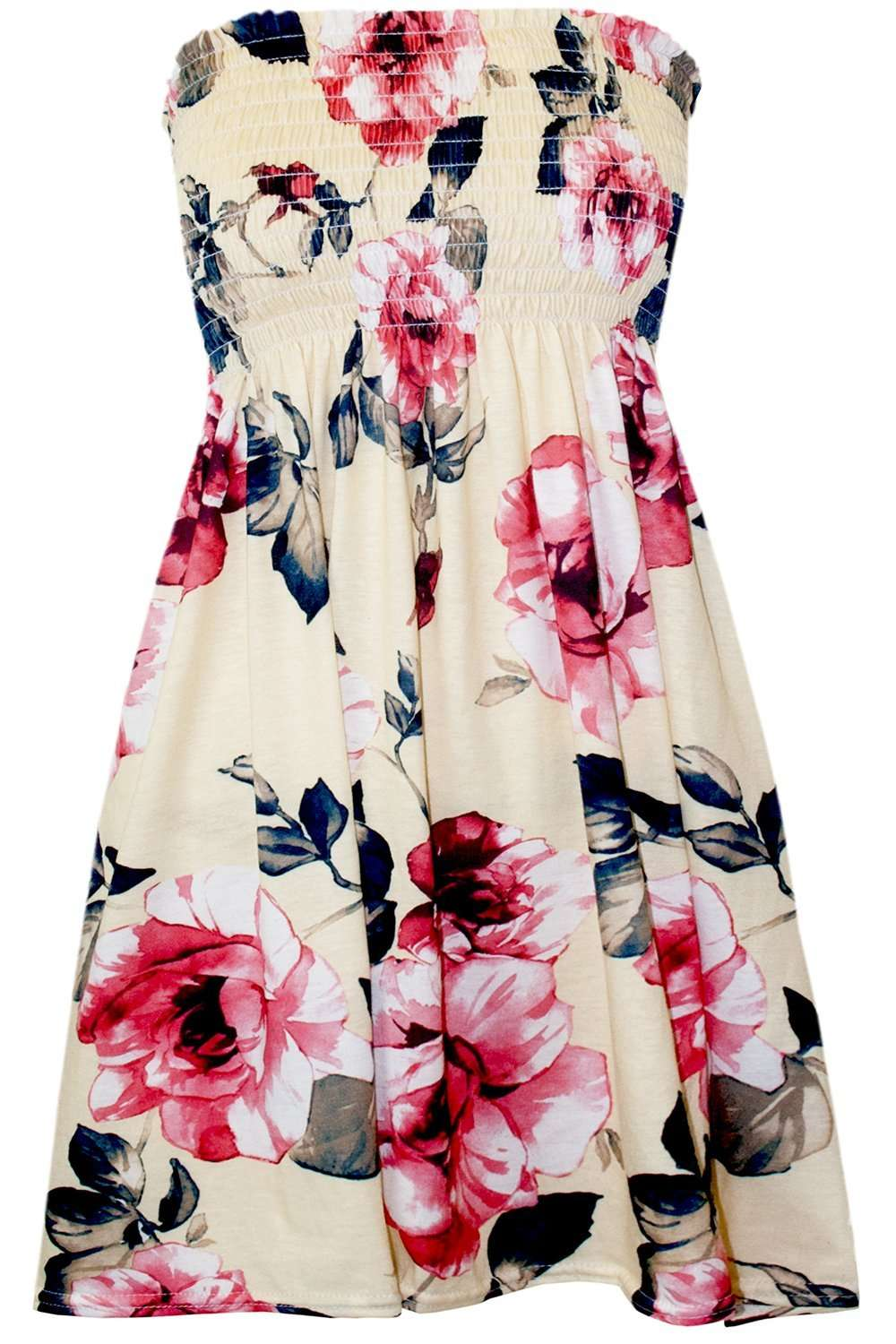 Sammi Sheering Strapless Floral Swing Top - bejealous-com
