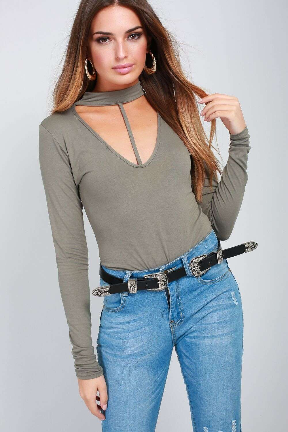 Sammie Long Sleeve Choker Neck Bodysuit - bejealous-com
