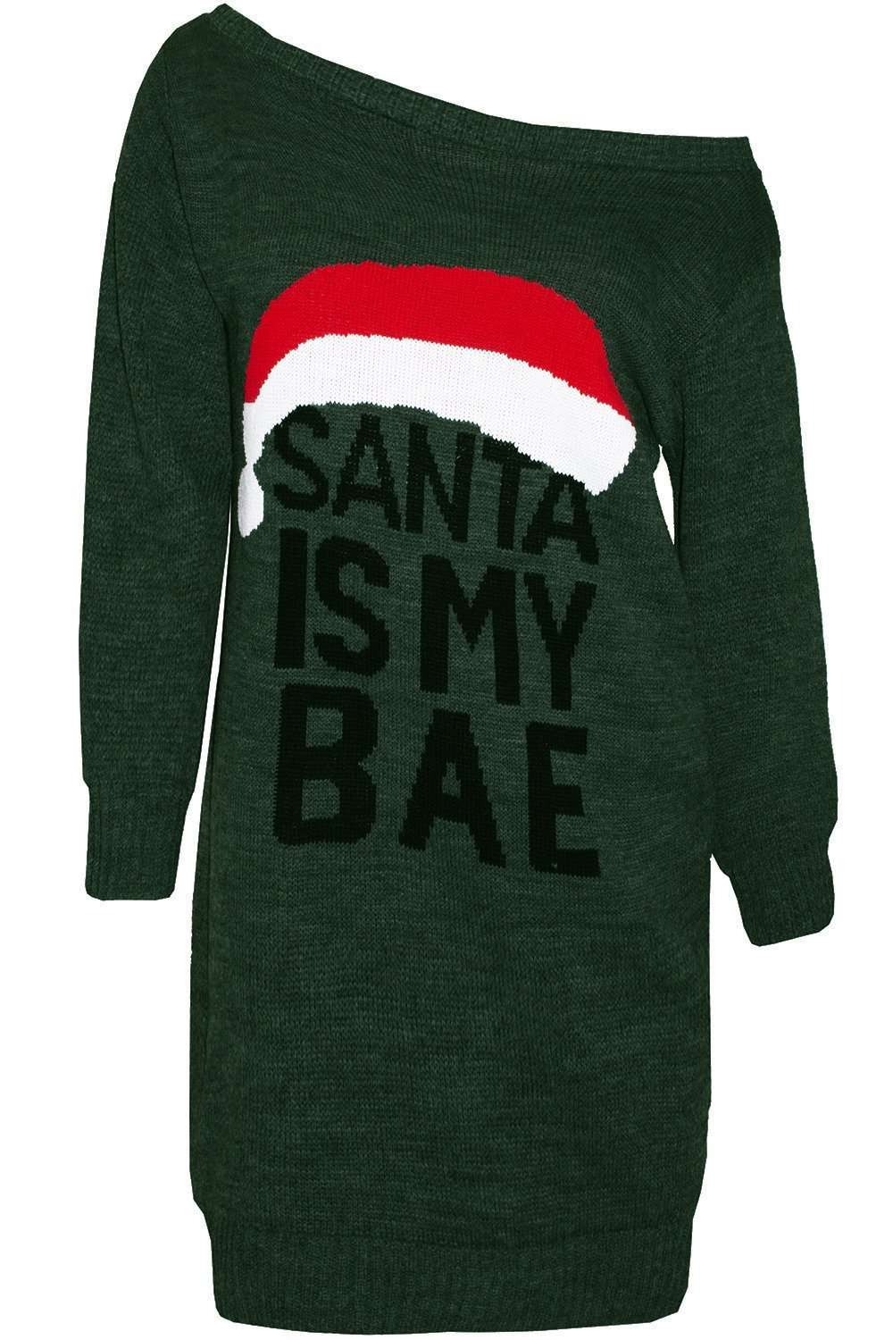 Santa Is My Bae Christmas Jumper Dress - bejealous-com