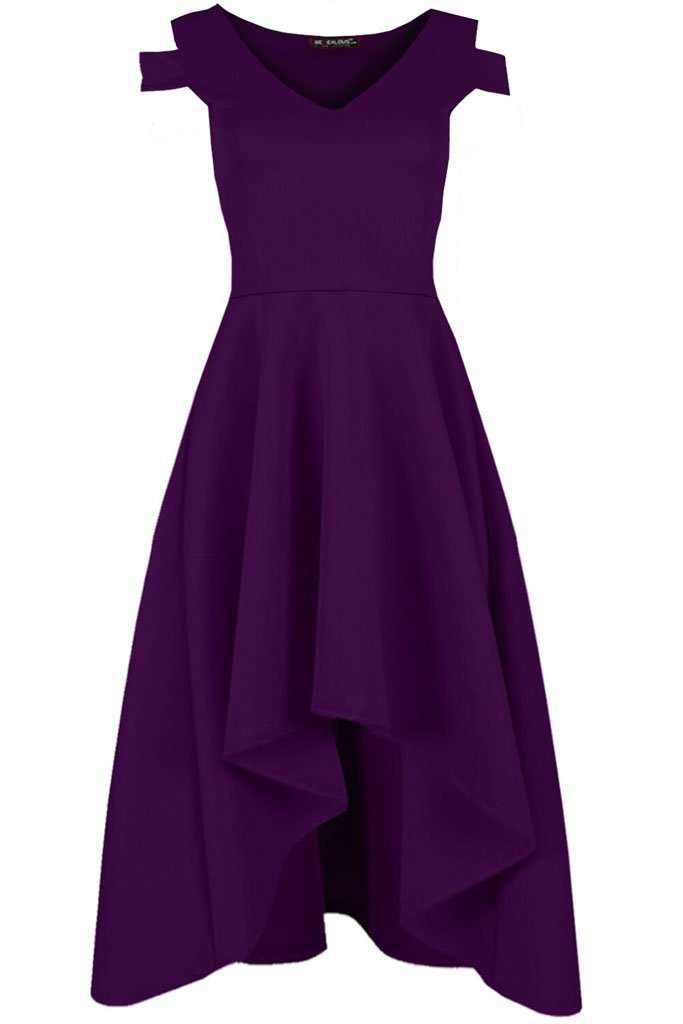 Sara Cold Shoulder Midi Skater Dress - bejealous-com