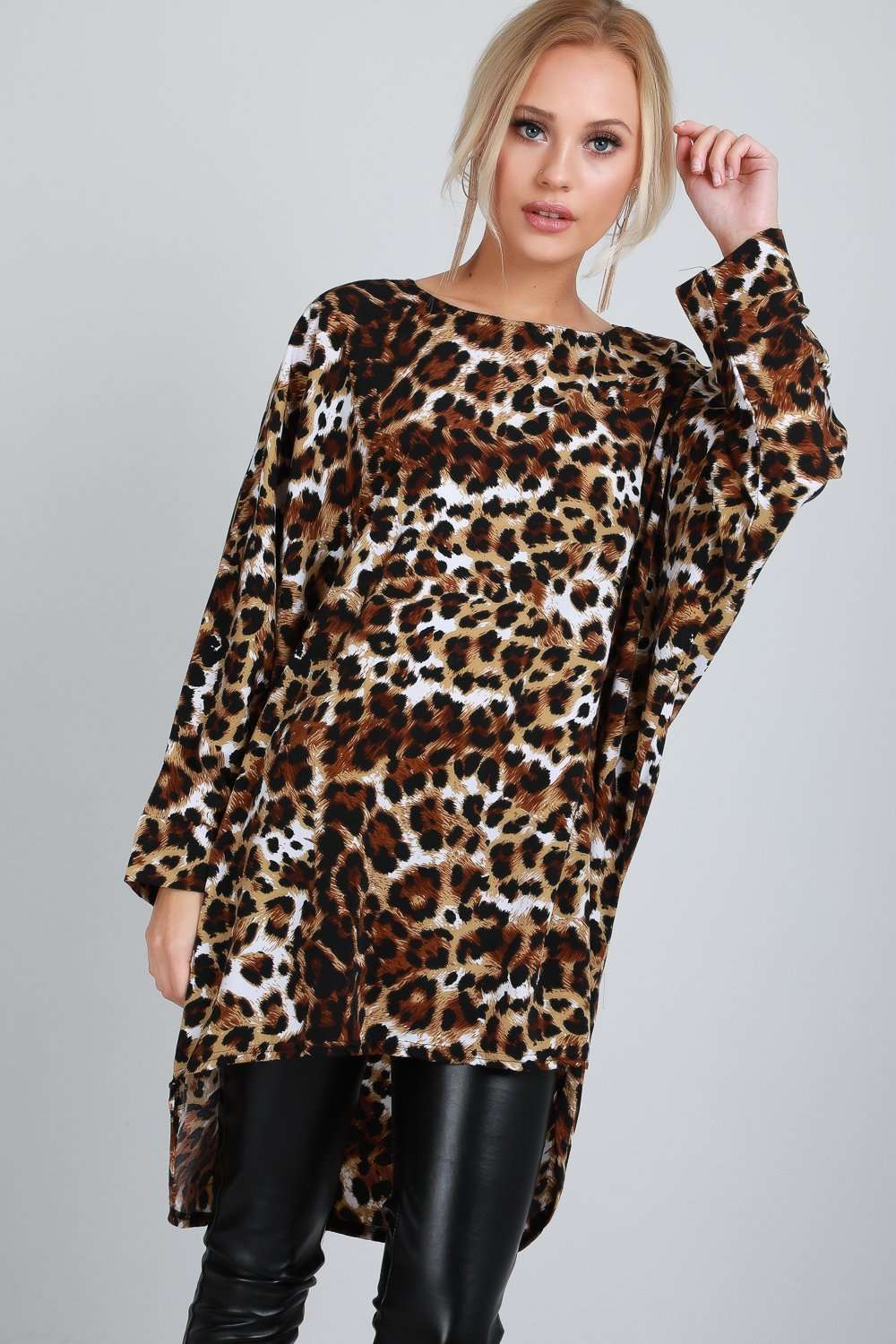Sassie Leopard Print Long Sleeve Bat Wing Top - bejealous-com