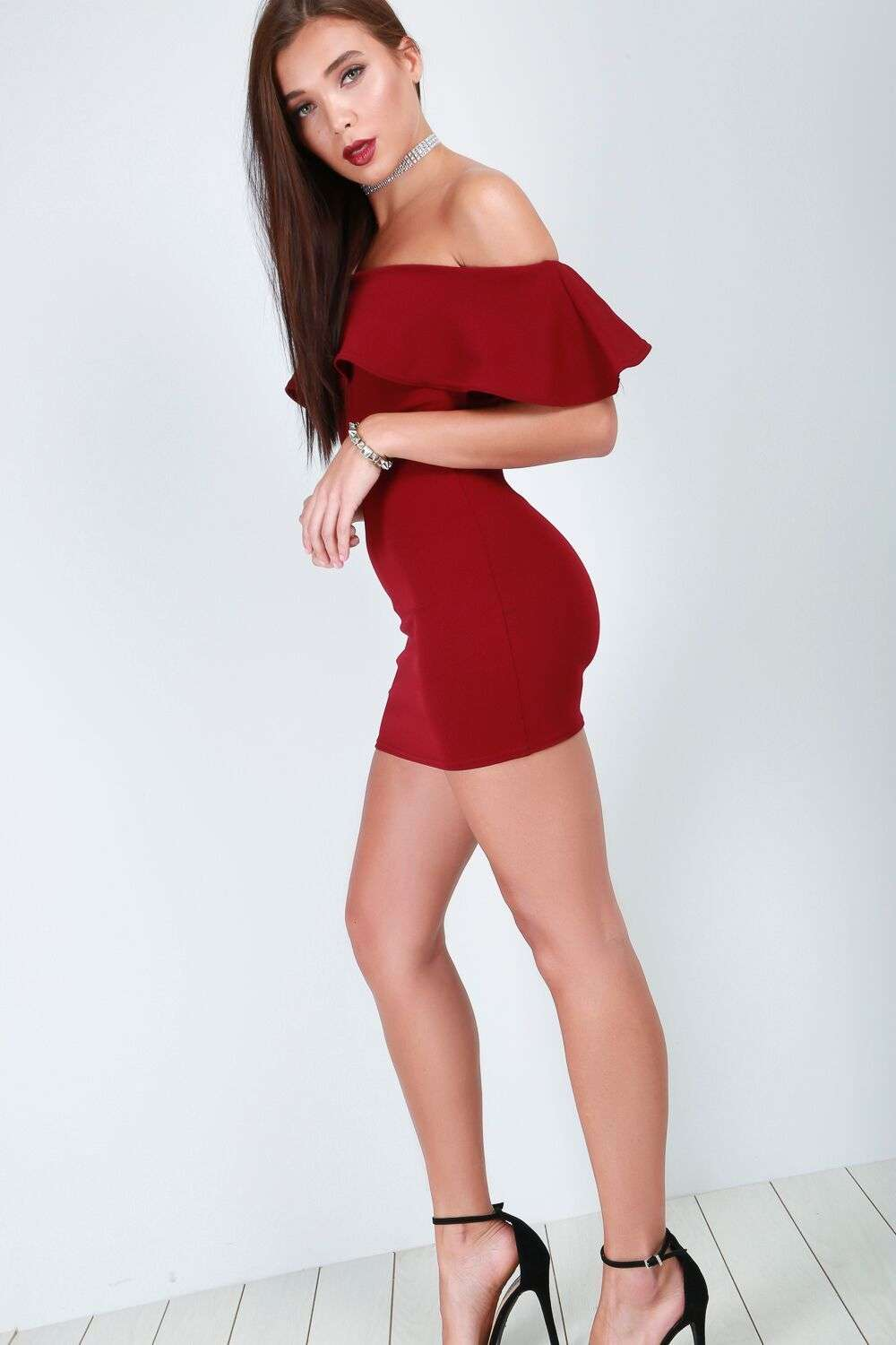 Scarlett Off Shoulder Frill Mini Bodycon Dress - bejealous-com