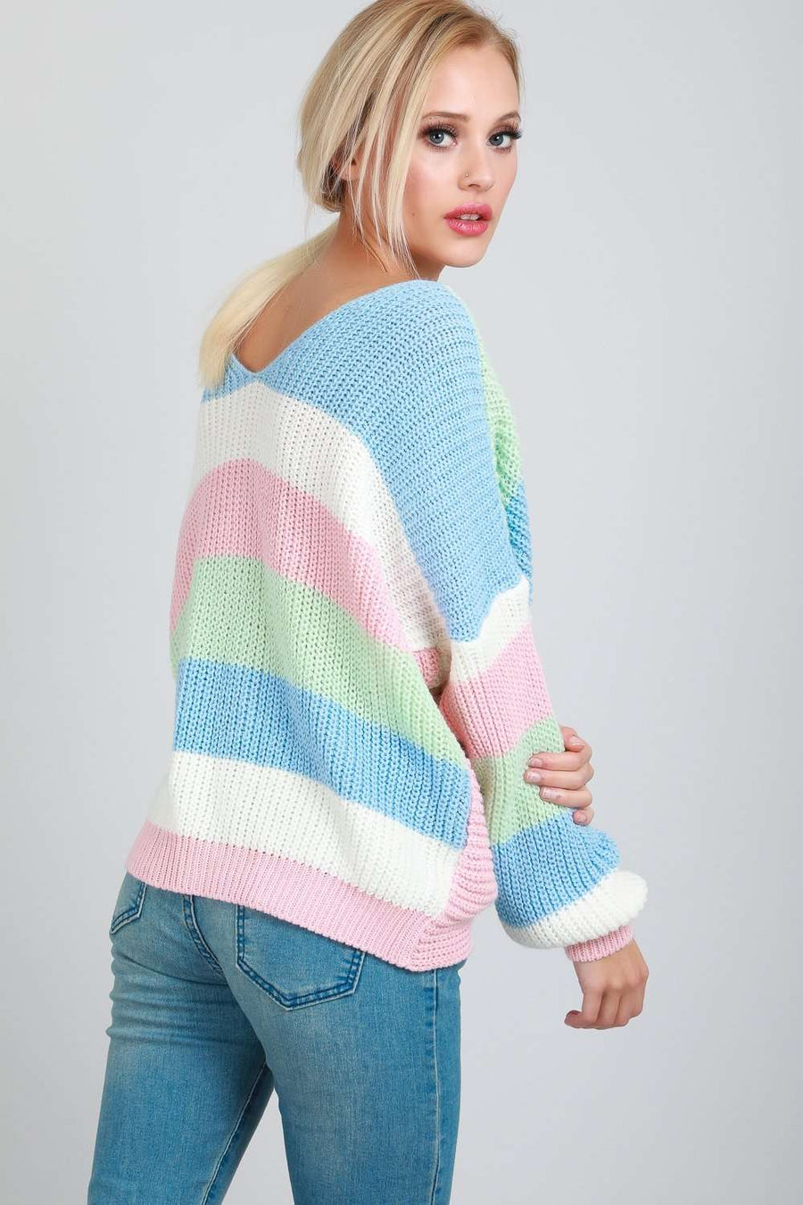 Sharan Twist Front Oversized Striped Knitted Jumper - bejealous-com