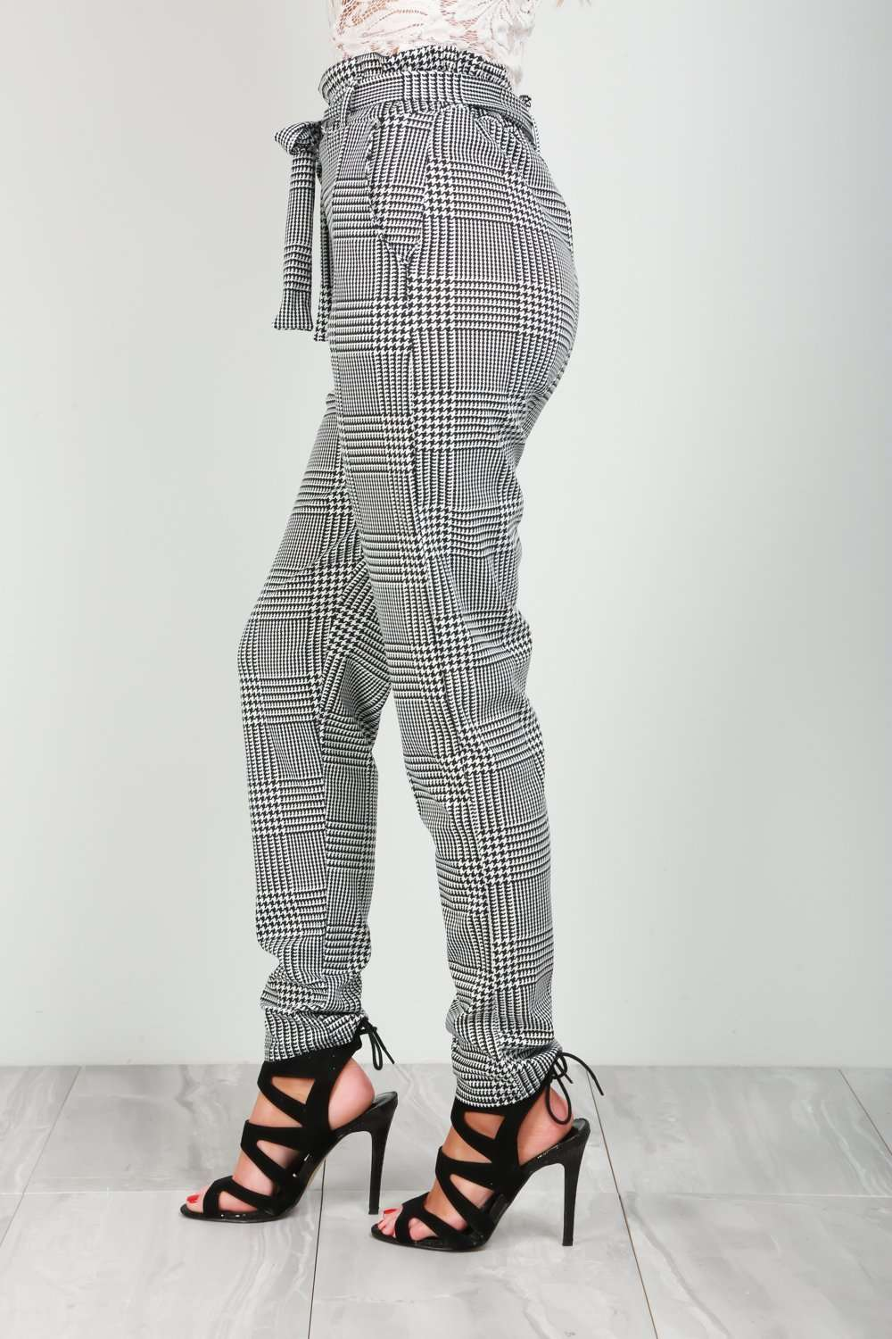 Shian High Waisted Belted Monochrome Trousers - bejealous-com
