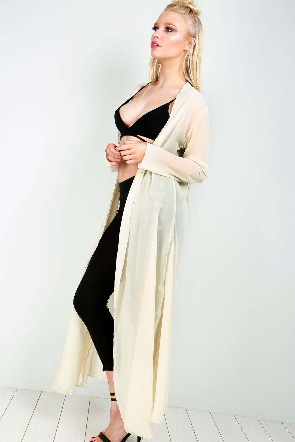 Shina Long Sleeve Sheer Waterfall Maxi Cardigan - bejealous-com