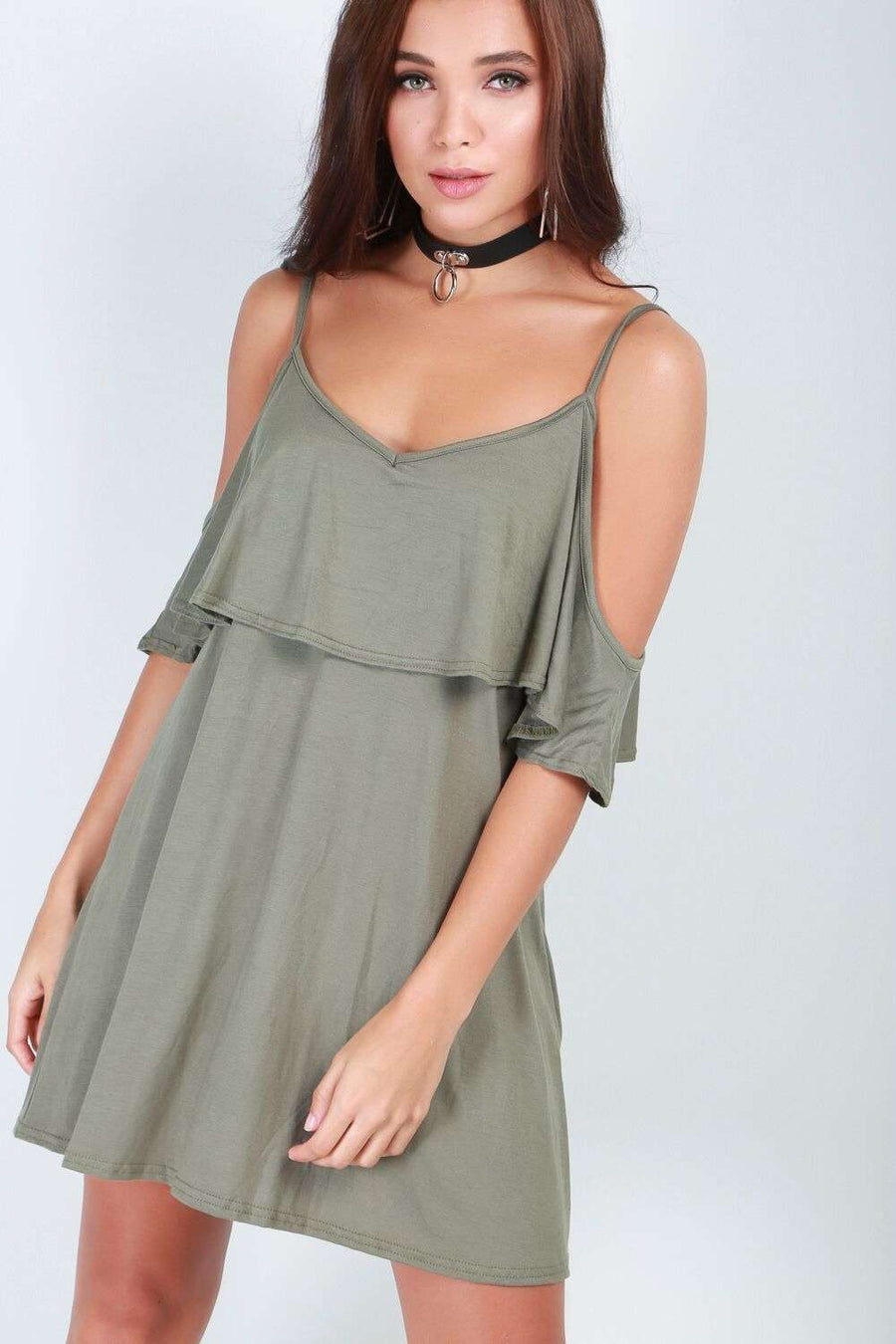 Cold Shoulder Basic Jersey Strappy Mini Dress - bejealous-com
