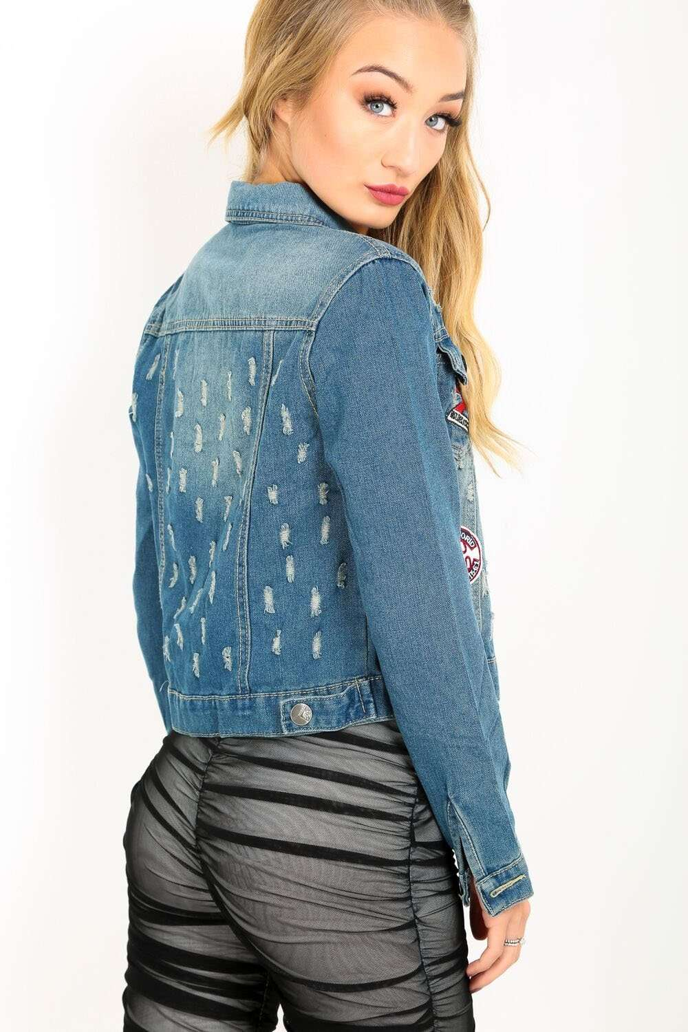 Simona Badged Cropped Ripped Denim Jacket - bejealous-com
