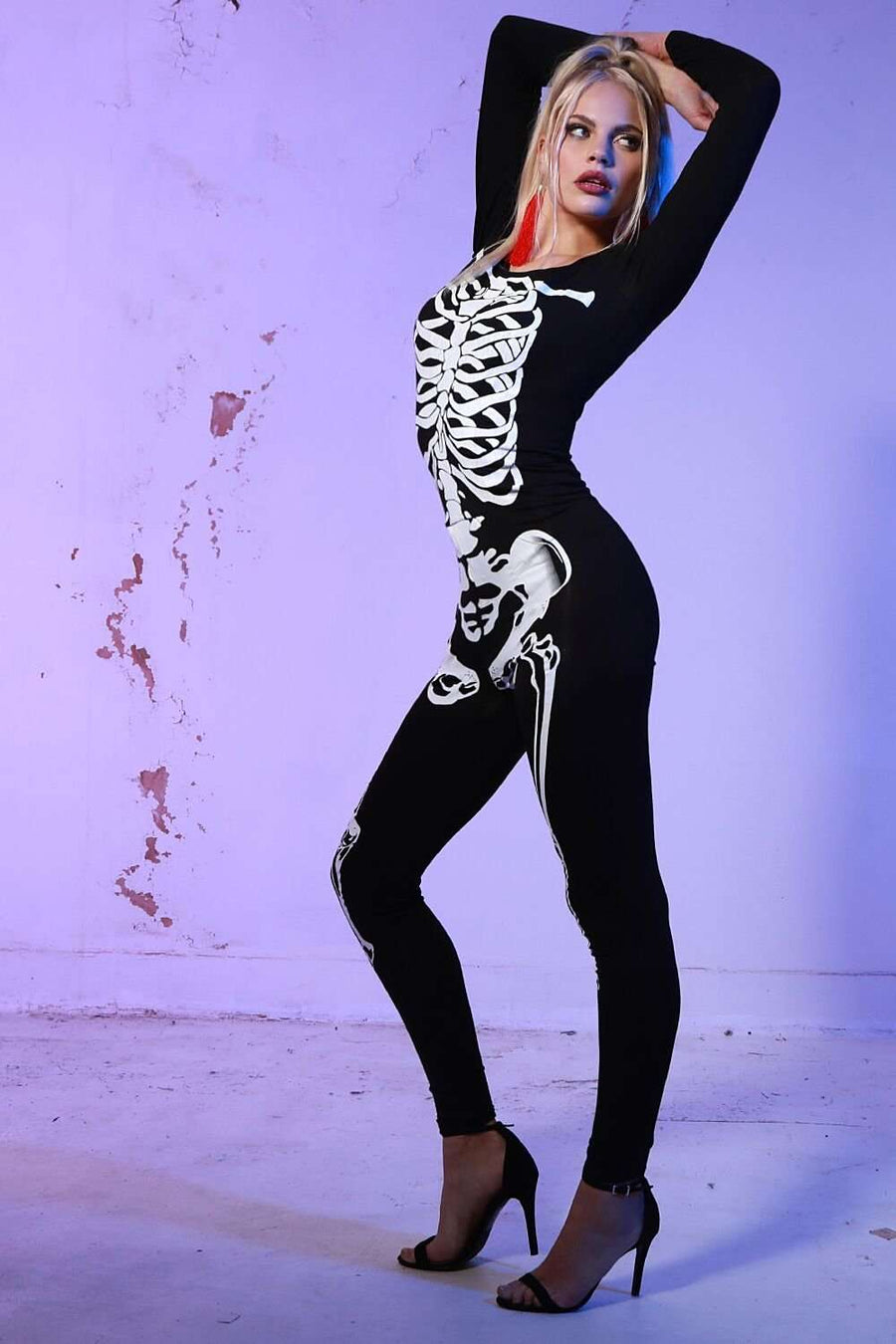 Skeleton Graphic Print Halloween Jumpsuit - bejealous-com