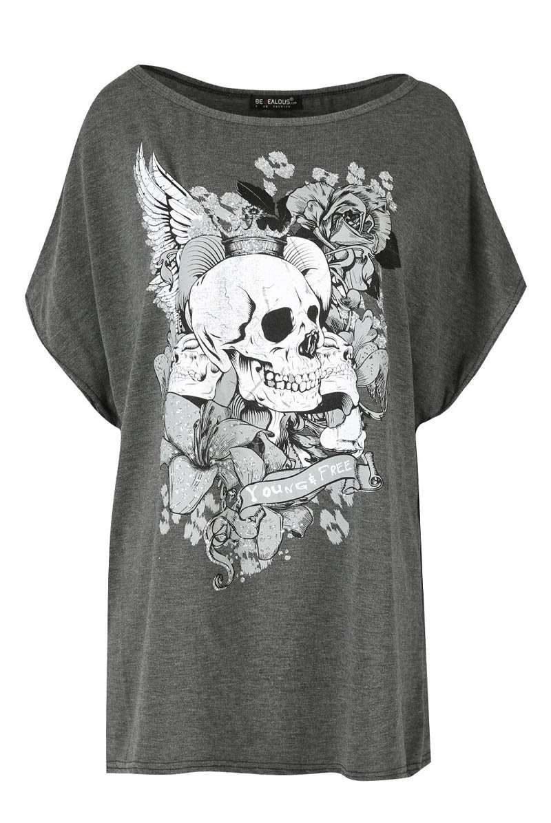 Skull Graphic Print Black Oversized Off Shoulder Tshirt - bejealous-com