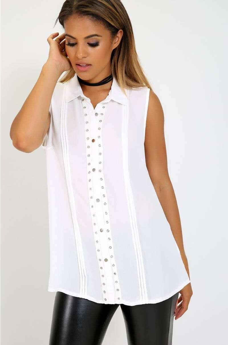 Sleeveless Chiffon Silver Button Baggy Shirt - bejealous-com