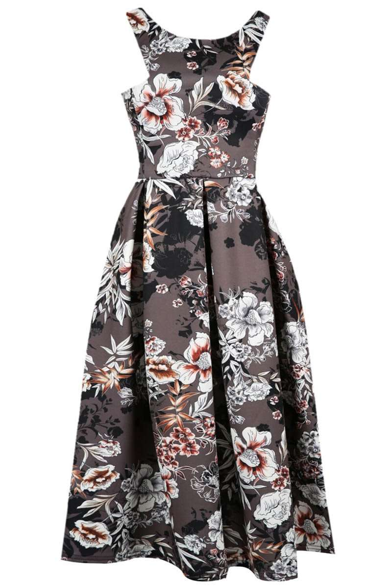 Sleeveless Floral Print Midi Skater Dress - bejealous-com