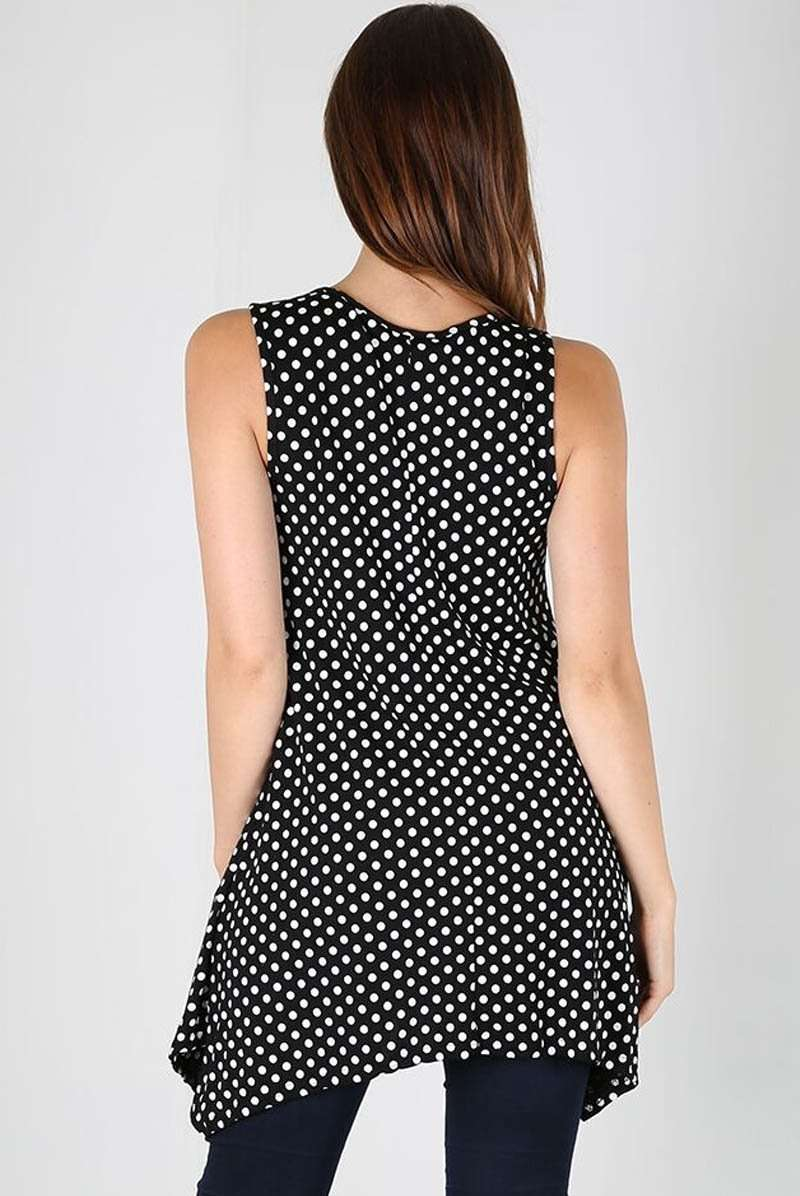 Sleeveless Polka Dot Dipped Hem Vest Top - bejealous-com