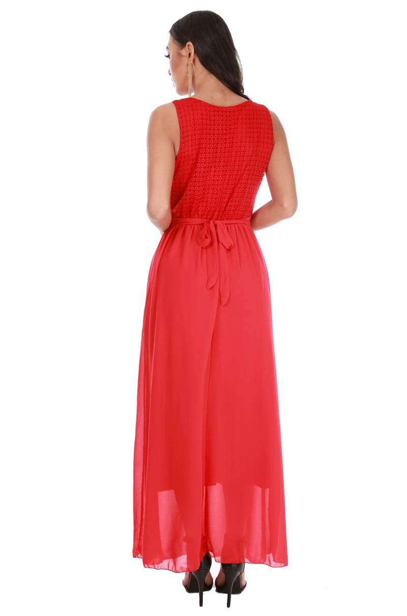Sleeveless Red Crochet Tie Waist Chiffon Maxi Dress - bejealous-com