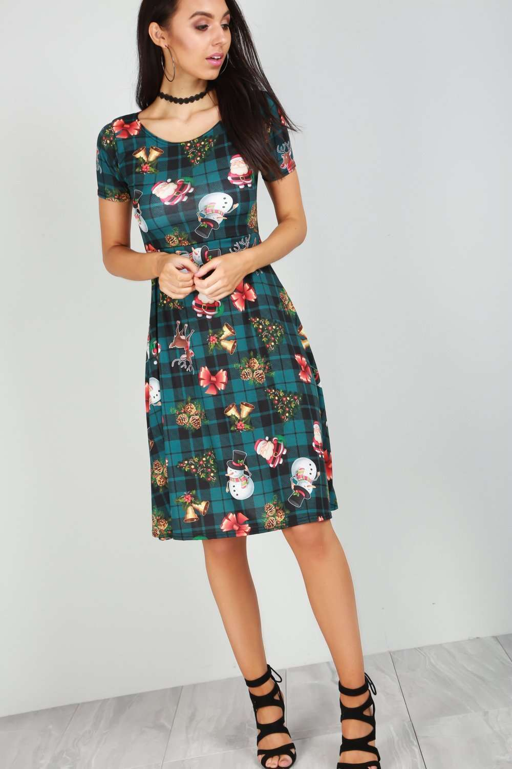Snowman Christmas Print Cap Sleeve Midi Swing Dress - bejealous-com