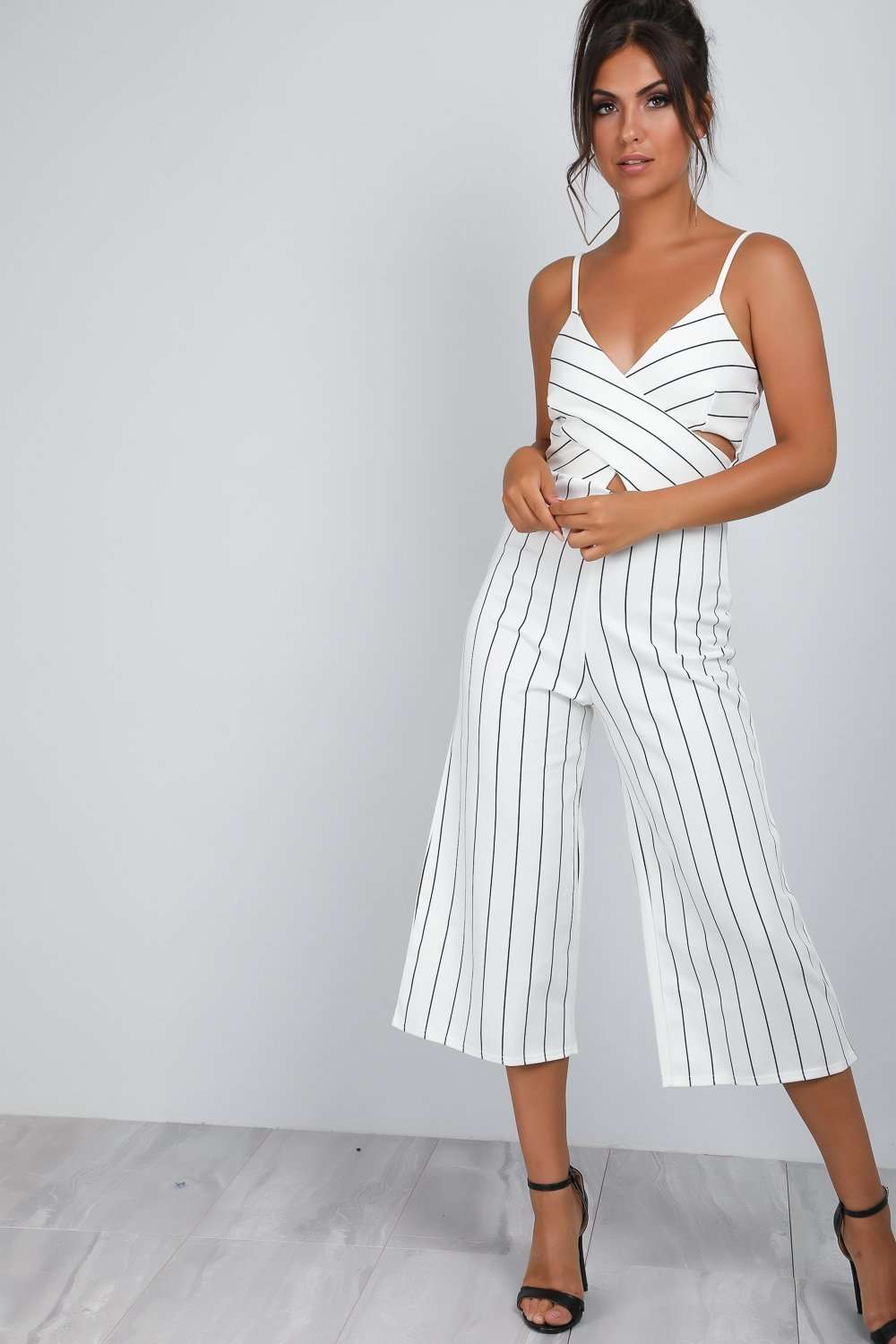 Sofia Pin Stripe Cropped Leg Jumpsuit - bejealous-com