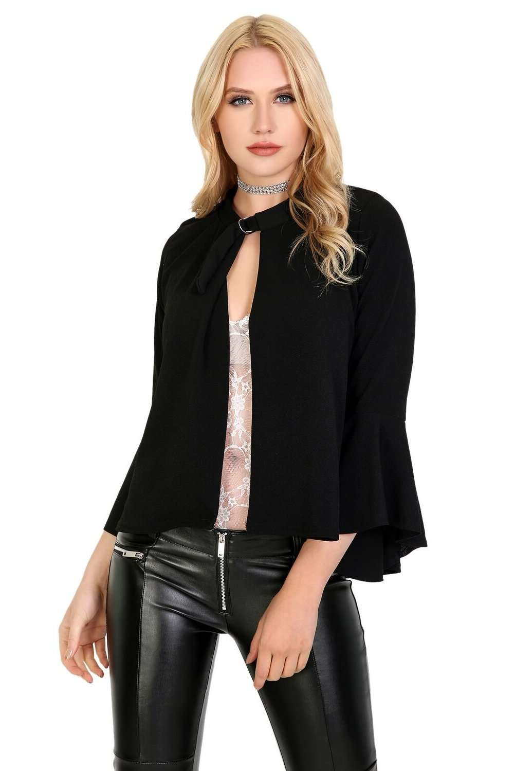 Sophia Buckle Neck Frill Sleeve Jacket - bejealous-com