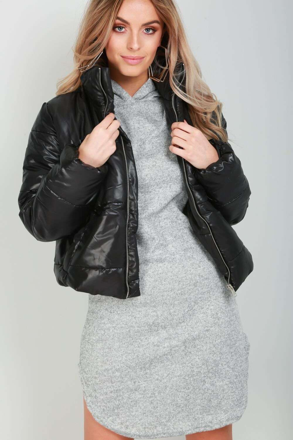 Sophia Cropped High Shine Puffer Jacket - bejealous-com