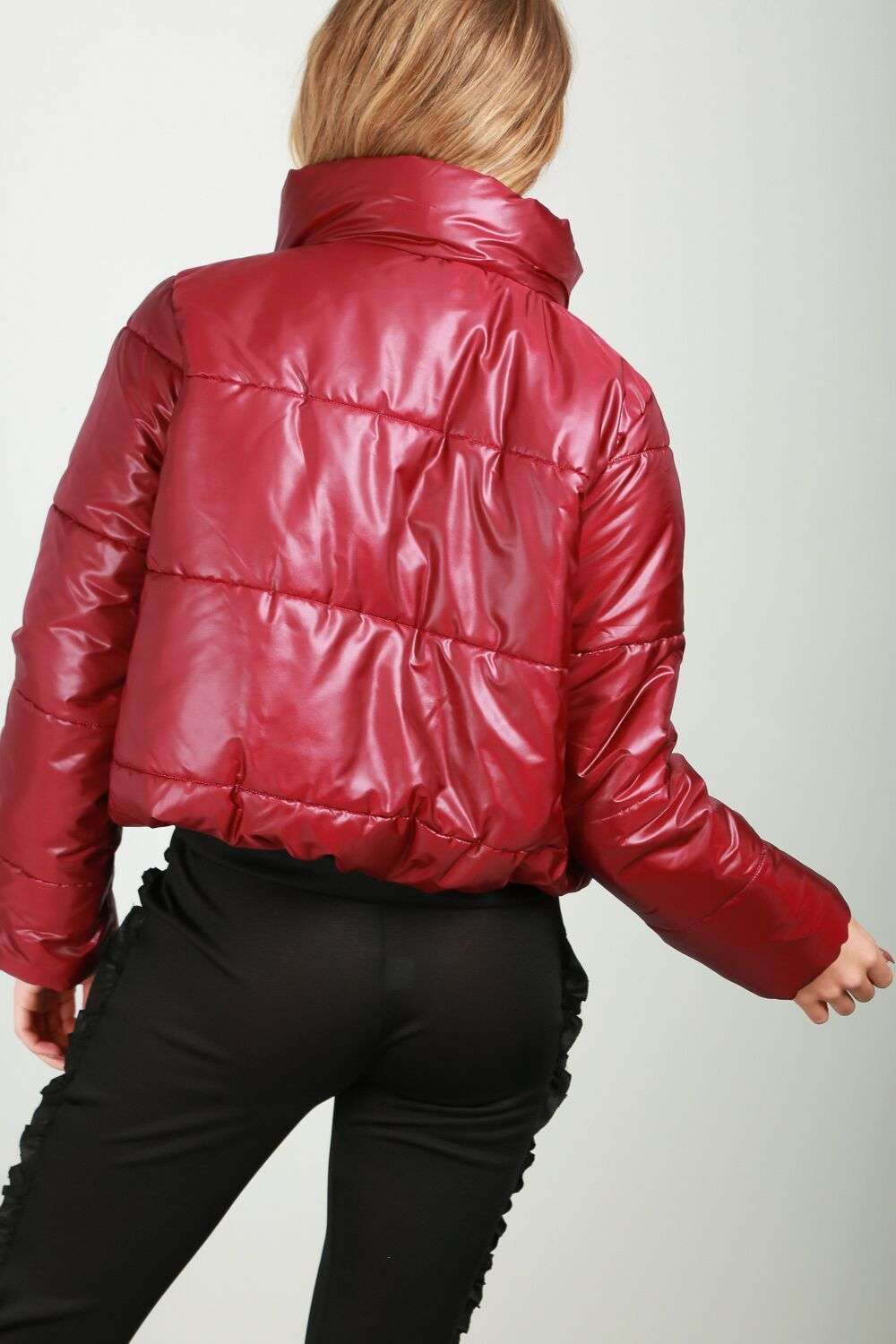 Sophia Cropped High Shine Quilted Puffer Jacket - bejealous-com