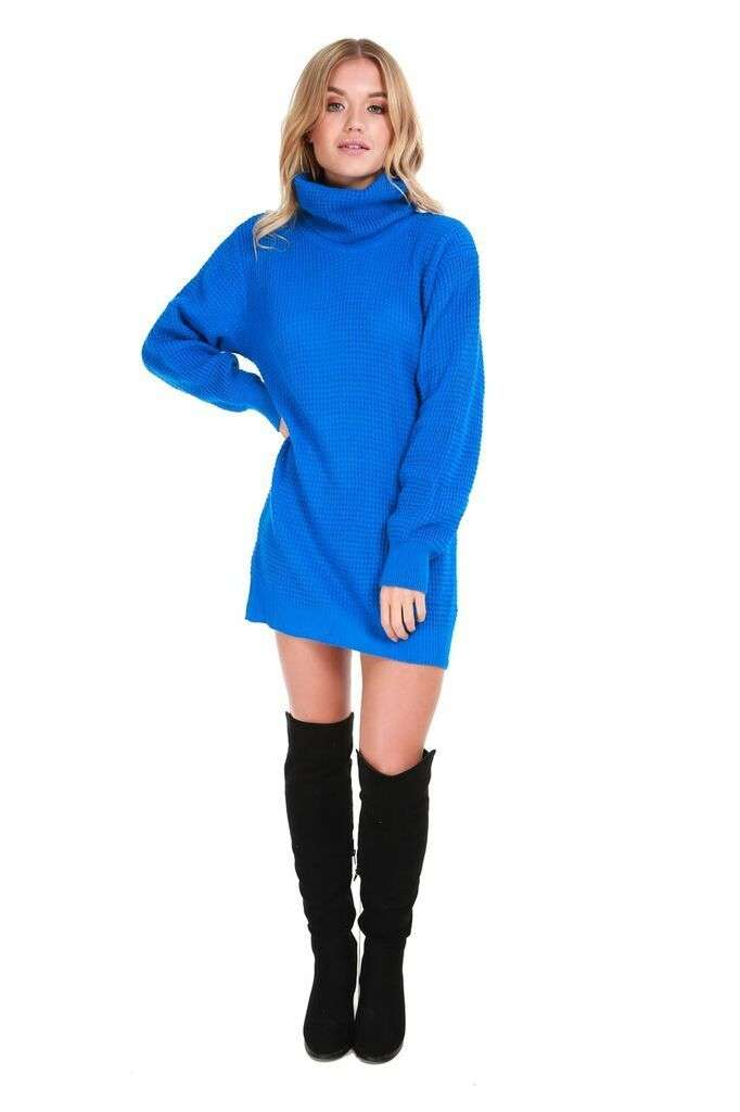 Sophia Long Sleeve Roll Neck Oversized Knitted Dress - bejealous-com